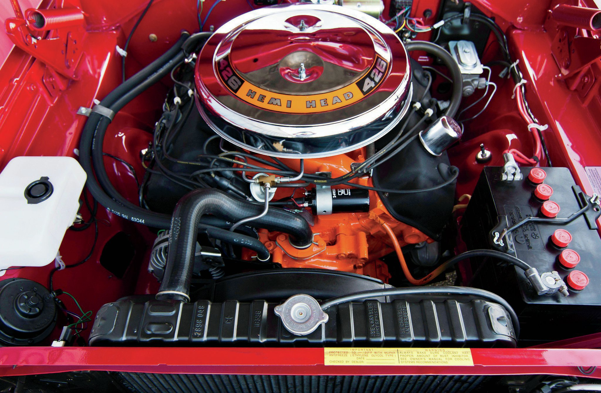 The '68 Road Runner came standard with a 383ci/335hp engine, an ambitious motor with a camshaft lifted from the 440. The only engine option for the '68 Road Runner was the $714.30 Hemi.