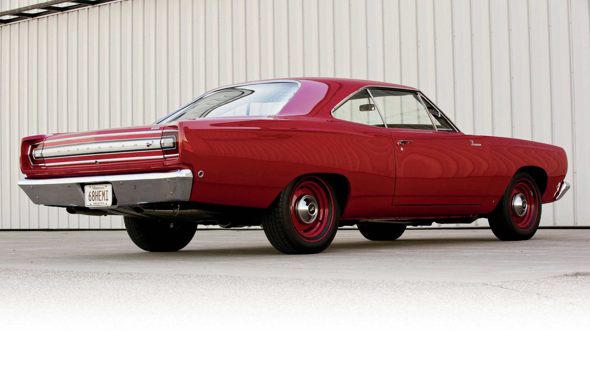 The Road Runner, introduced for 1968, was based on the redesigned '68 Belvedere. The car initially came as a two-door coupe post car, while a two-door pillarless hardtop version—like this car—was introduced midyear. There were 840 Hemi coupes and 169 Hemi hardtops built. Of those hardtop cars, 108 were four-speeds and 61 automatics.