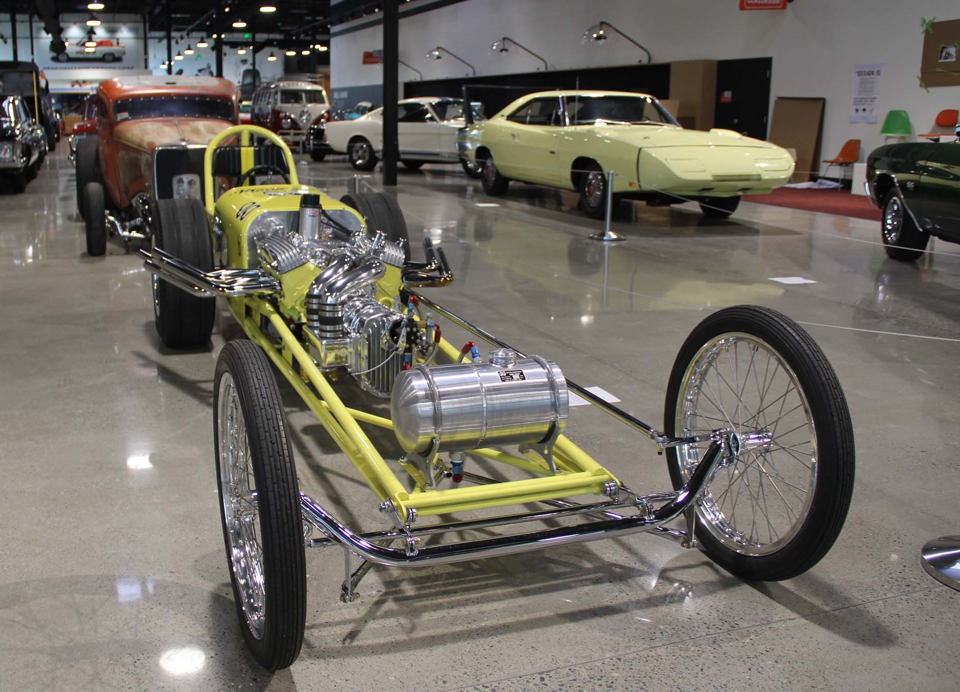 This is an original Moon Equipment dragster with Moon's front-mounted blower setup and iconic aluminum tank, recently restored by the museum.