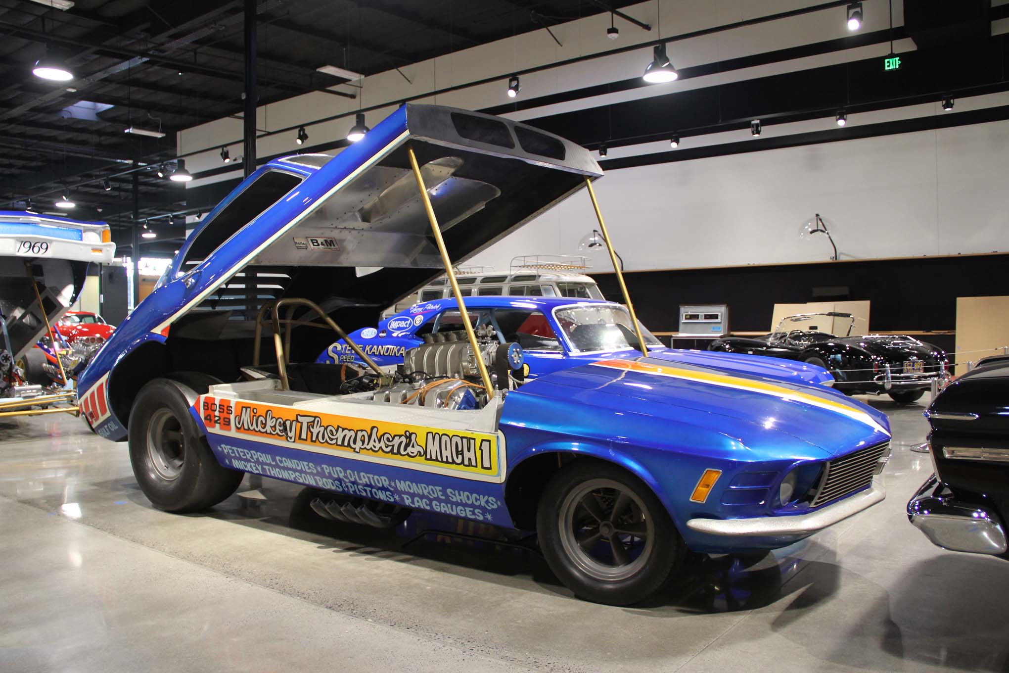 Many of the cars used in the drag-racing display are significant in different ways. Though Mickey Thompson's monocoque Mustang Funny Car from 1969 was too heavy to be competitive, it stands as a state-of-the-art-for-the-time's attempt to blend road racing and Funny Car chassis construction.