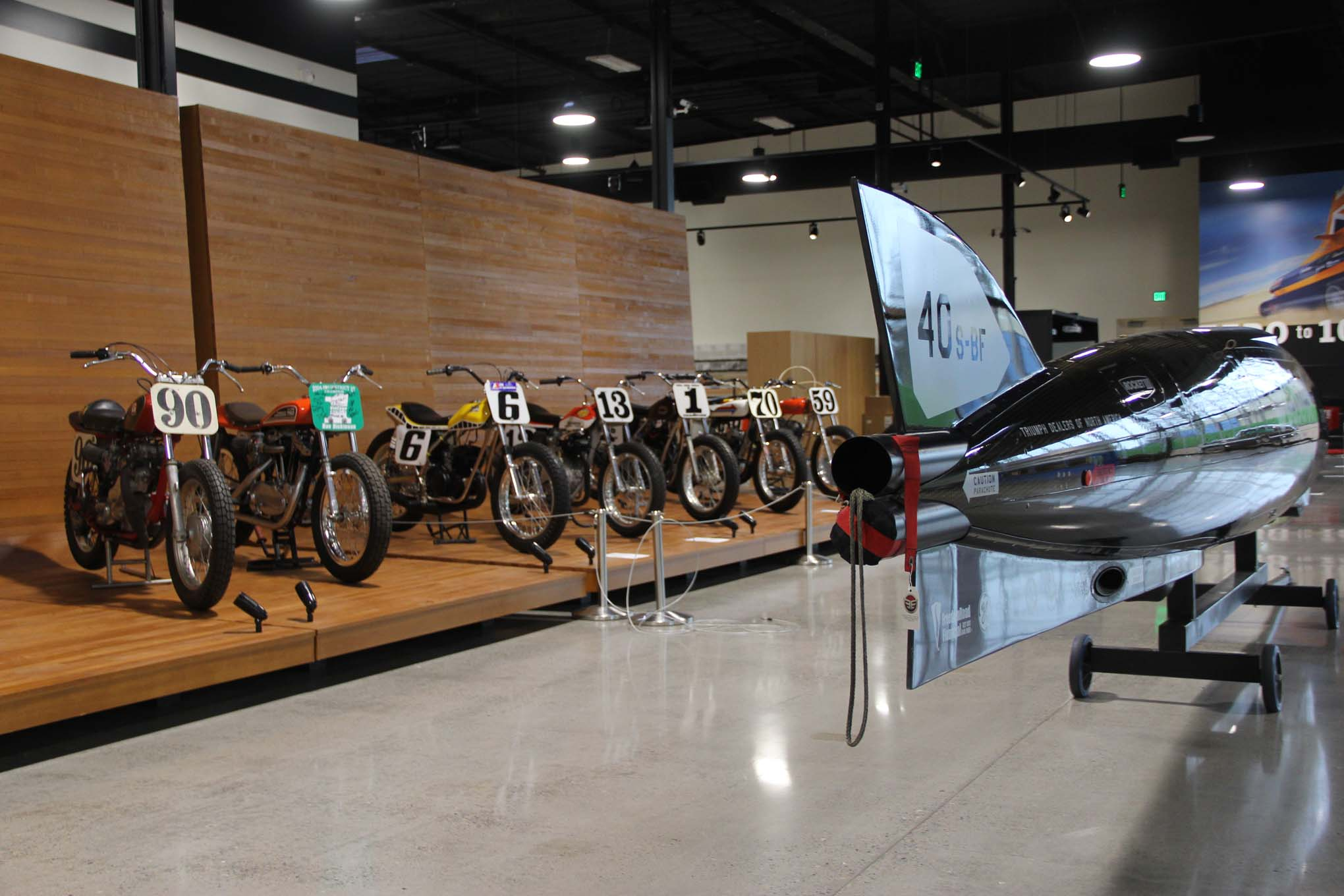 This is just a portion of the motorcycle display, which includes the Triumph-powered Castrol Rocket at the right, which is currently seeking to break the Fédération Internationale de Motocyclisme (FIM) world land-speed record in the motorcycle class.