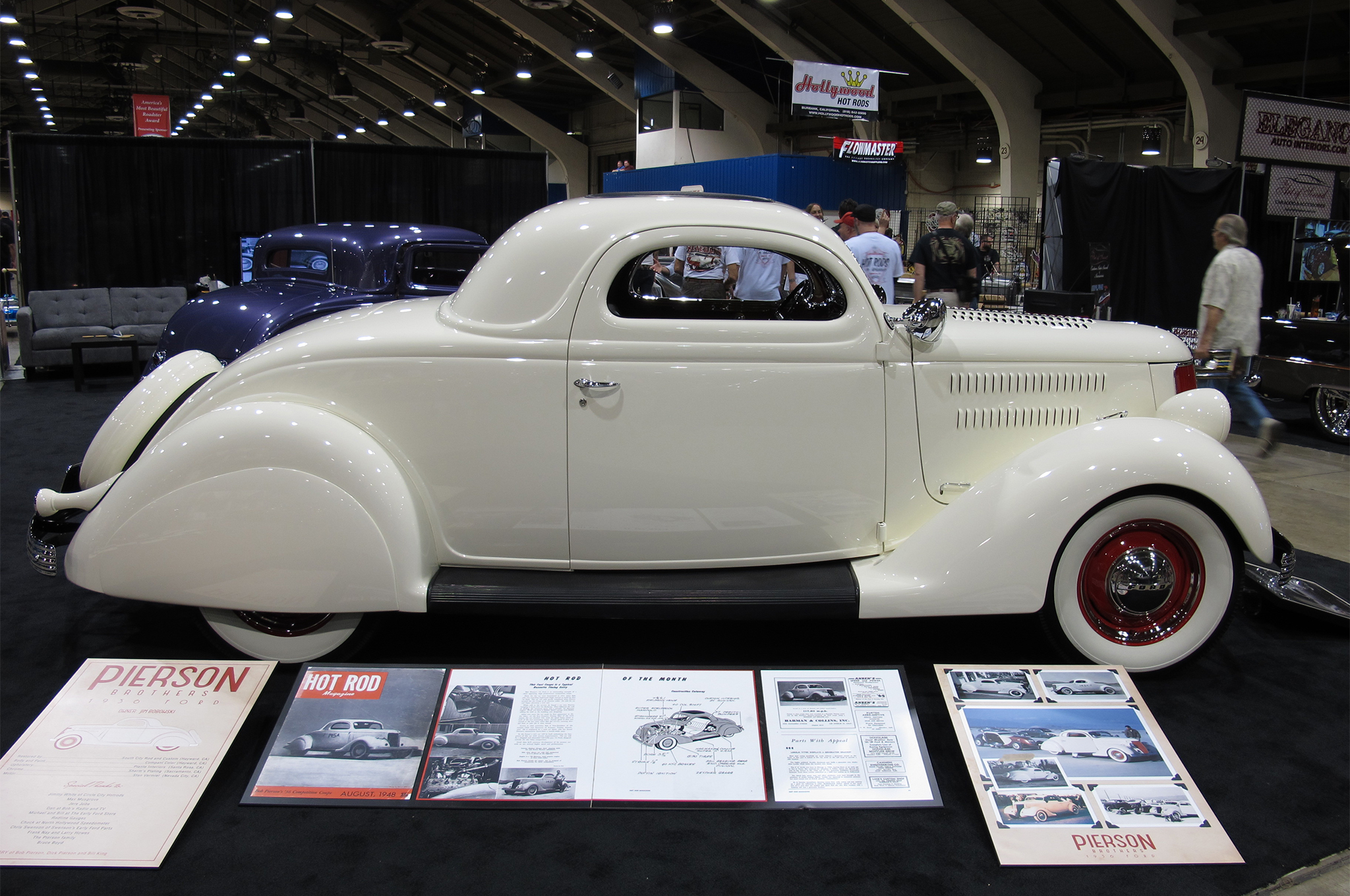 """Sharing space with most of the AMBR contenders in Building 4 was one of the most significant cars at the show, Jim Bobowski's '36 Ford coupe, which was originally owned by Bob Pierson and beautifully restored by South City Rod and Custom of Hayward, California. One of HRM's earliest cover cars (Aug. 1948), the coupe was Pierson's daily driver but also hit 117 mph on the dry lakes when it was featured as the magazine's """"Hot Rod of the Month."""" Later modifications, including a chopped top and belly pan, brought the car to 140 mph. The efforts of South City, which is owned by Bill Ganahl (son of longtime rodding journalist Pat Ganahl), netted him and owner Bobowski the show's Bruce Meyer Hot Rod Restoration Perpetual Trophy."""