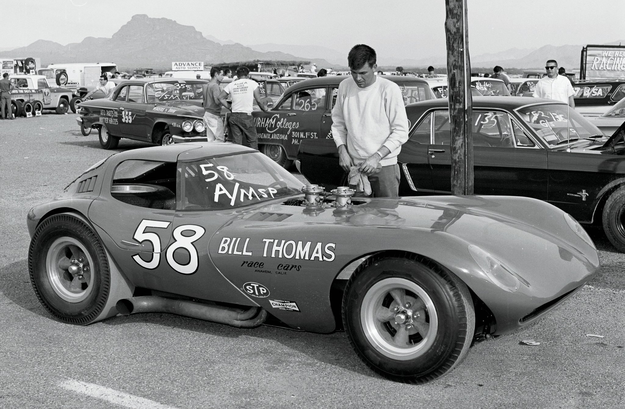 In 1965, it was still possible for a talented sporty-car driver to go drag and road racing with the same vehicle. This Chevy-powered Cheetah held both ends of AHRA's national A/Modified Sport record at 10.82/130.34 while challenging Cobras on road courses. Bill Thomas Race Cars factory driver Mike Jones later conceived and created Orange County International Raceway.