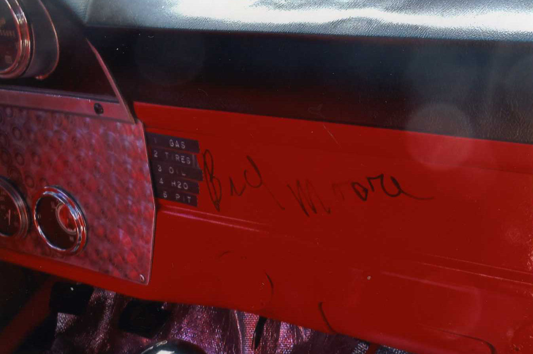It seems very appropriate to have a Bud Moore autograph on the dash.