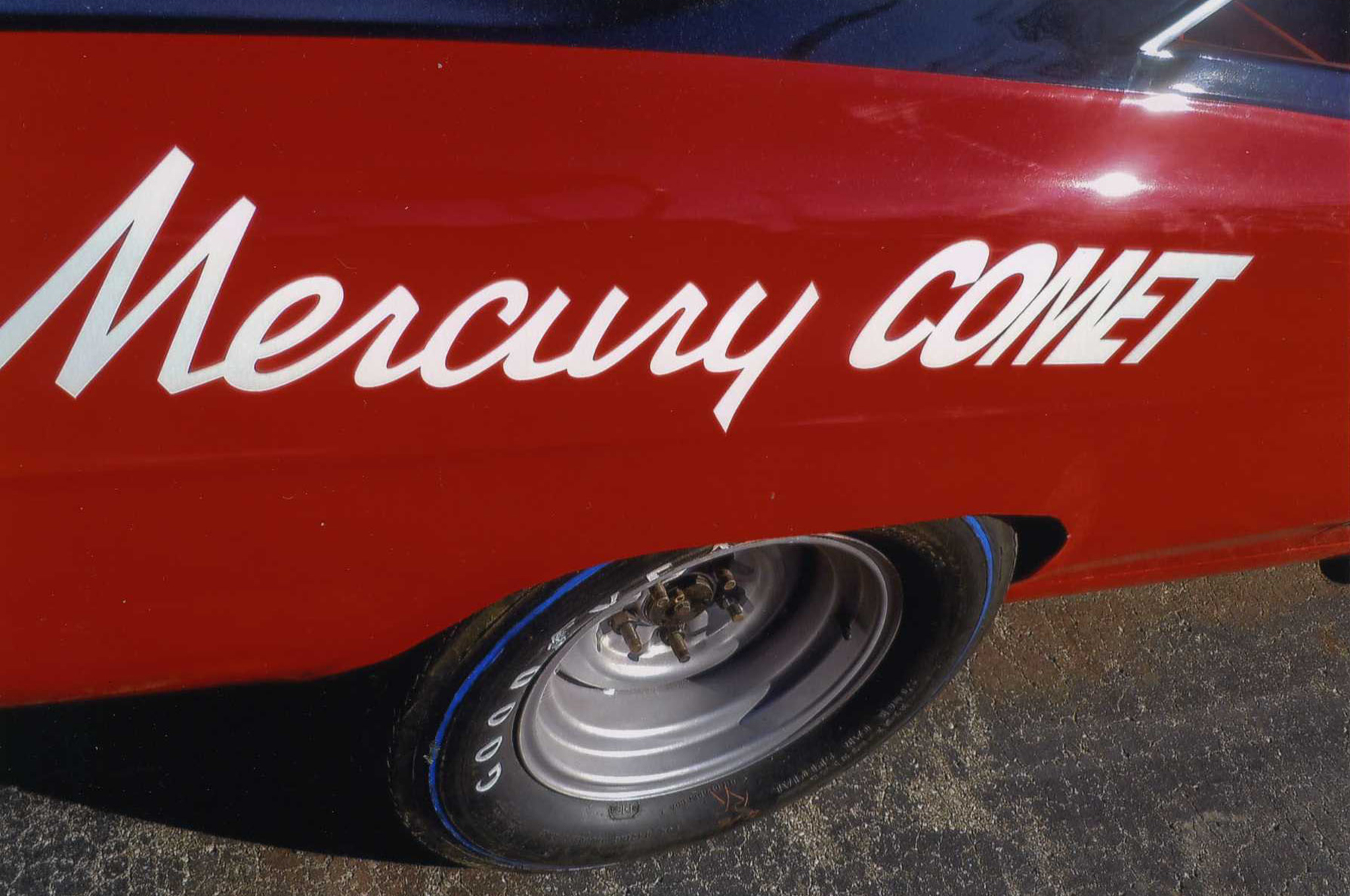 "The Large ""Mercury Comet"" on each rear quarter made sure that potential buyers could easily read the words and recognize the type of car it was, even at speed on the track. Remember, this was the height of the 'Win on Sunday, Sell on Monday"" era."