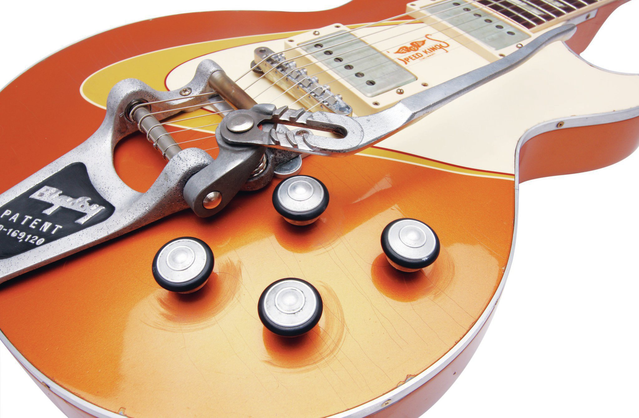 The arm on the Bigsby Vibrato is from a set of Channellock pliers, and the aluminum and rubber knobs are in homage to the wheels and tires on Scott's coupe.