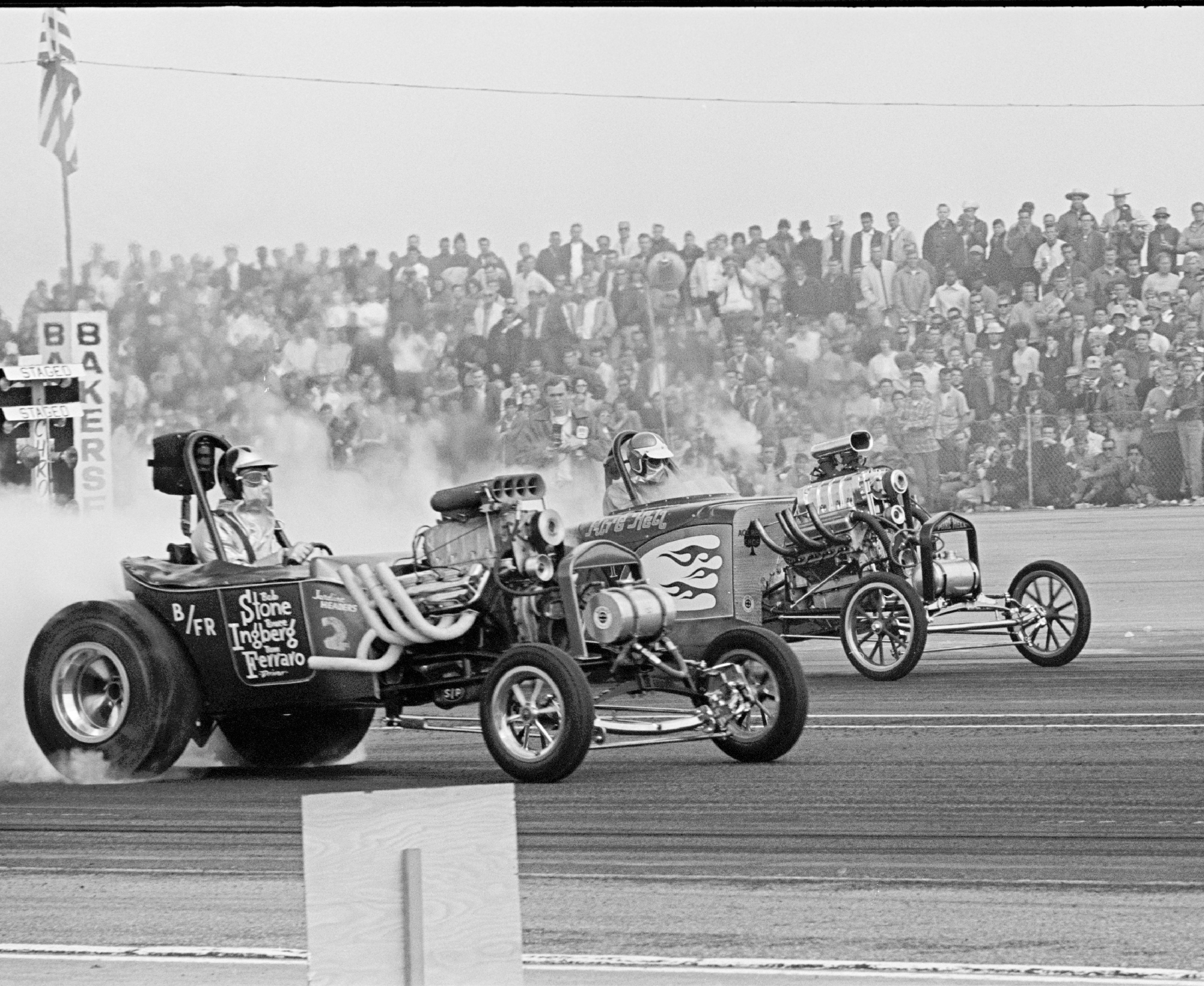 "Despite a controversial, unpopular takeover by Eastern promoters Gil Kohn and Ed Eaton, Bakersfield's U.S. Fuel and Gas Championships remained the sport's most important ""hot-car"" meet. Hot rods of 1965 didn't come any hotter than fuel altereds. A huge upset saw Tom Ferraro's 9.36 hold off Dale Emery in Rich Guasco's 8-second Pure Hell en route to the Blown Altered/Fuel Roadster victory."