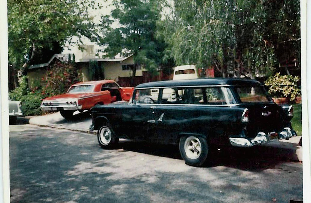 "This shows the front driveway of the Jobe home in Temple City. ""Anyone would have given their eye teeth for a driveway with those cars parked on its concrete,"" says Dale. The family still owns the two-door wagon still equipped with a 301/four-speed, as well as the '56 Ford Custom Cab truck soon to be brought back to life with a late-model drivetrain."