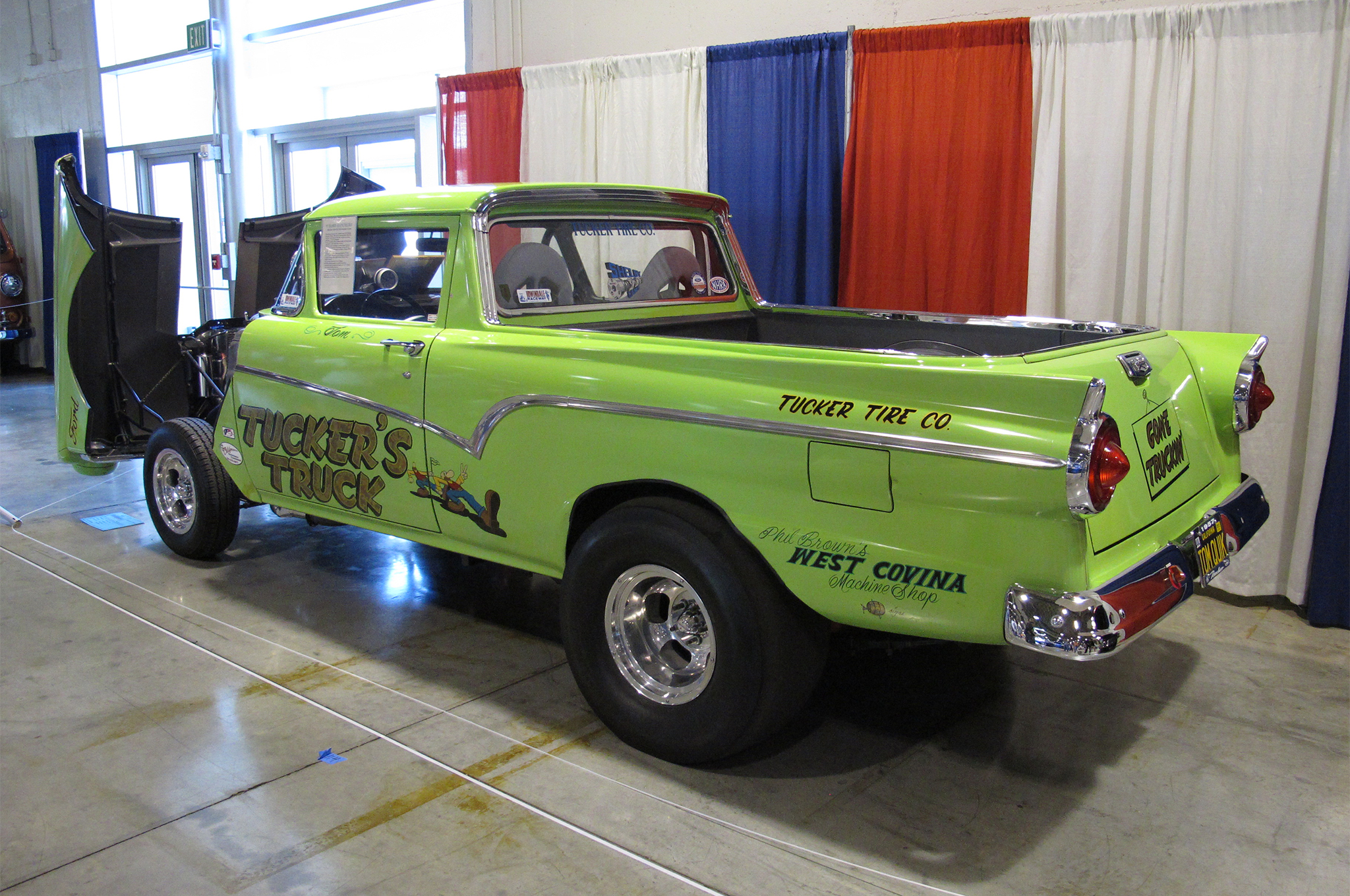 Another not-your-everyday-gasser on display was Tom Tucker's '57 Ranchero, which he bought bone-stock in 1962 and then built to race during the mid- and late '60s. He ran at most of Southern California's strips—Lions, Irwindale, Fontana, and Pomona—turning a best 11.20 at 120 mph. In 2009, he tore down the car/truck and fitted the 427 side oiler with the blower and mechanical injection seen here. It was back on the strip for the first time in 30 years at the 2011 Mooneyes Show.
