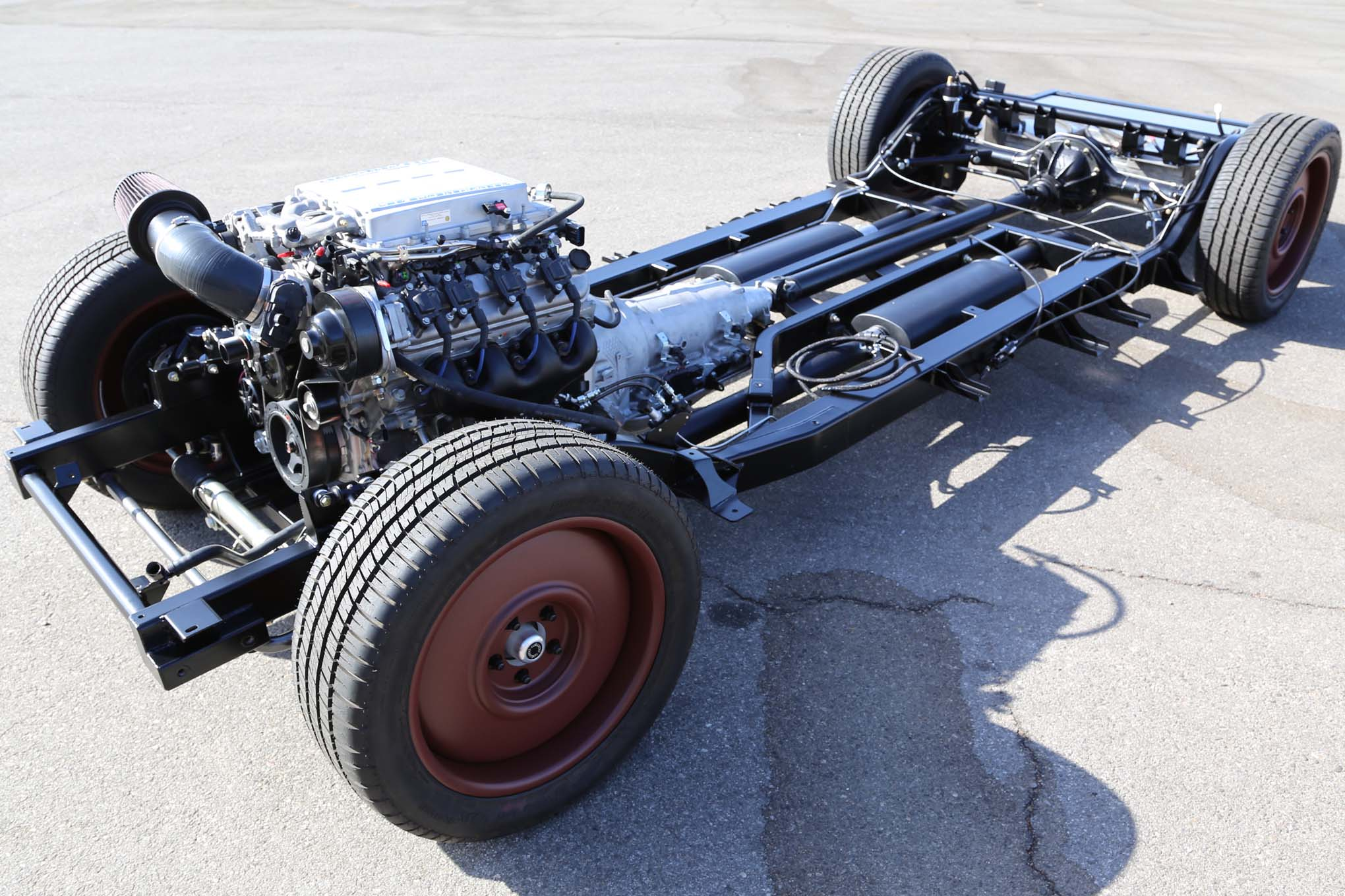 Beneath the Buick's history-marked skin is a mandrel-bent Art Morrison tube chassis, rack-and-pinion steering, four-link rear, and coilover shocks.