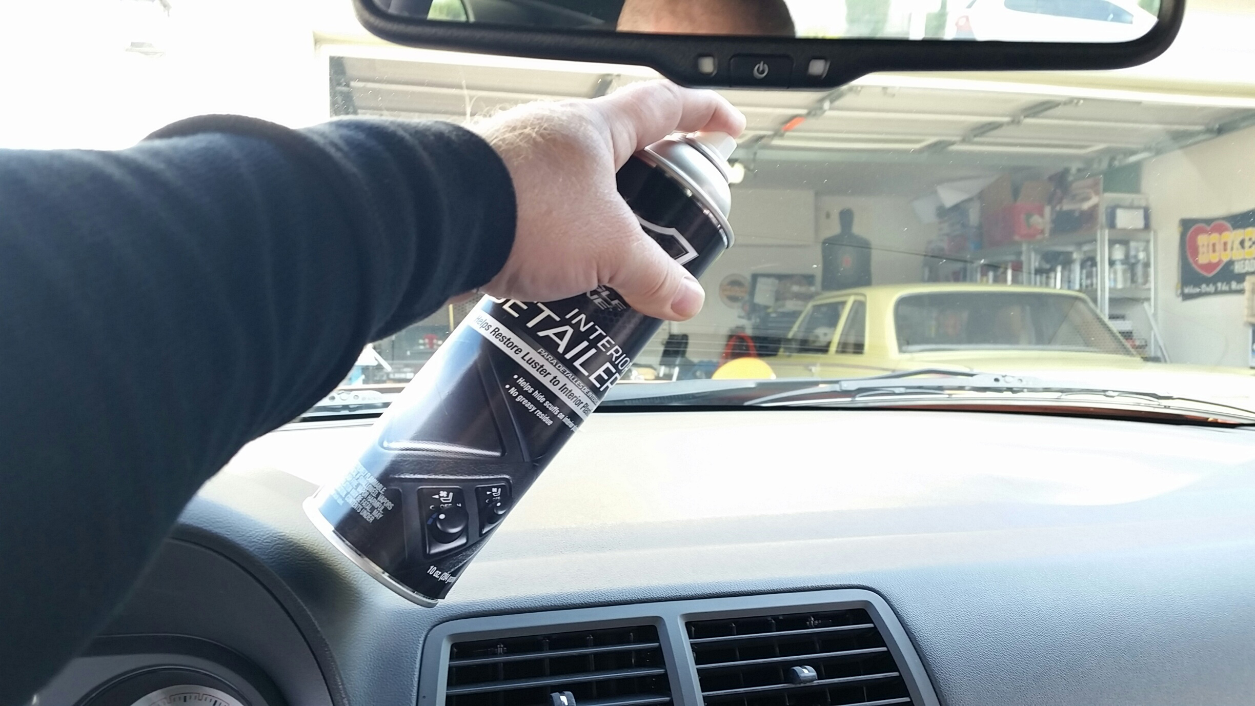 Eagle One Interior Detailer just sprays on and wipes off. It made all our interior plastic look new, giving it a non-oily, satin matte sheen. It also magically hides scratches and cuts.