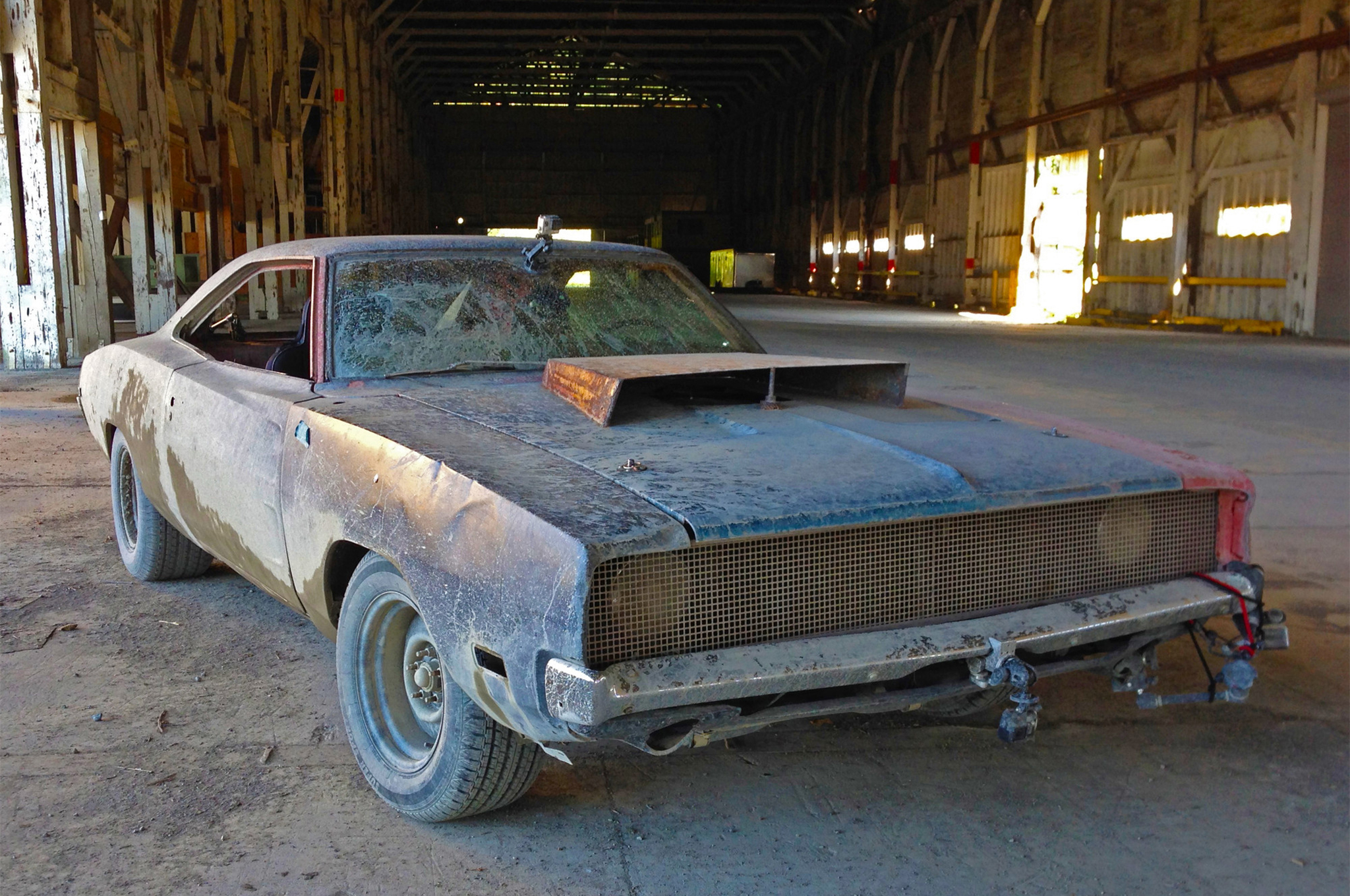 All of the drivetrain for the Duster was harvested from this car, the 1968 Charger known as General Mayhem. That car is now getting a swap with a modern Hellcat Hemi at Diversified Creations in Brighton, Michigan.