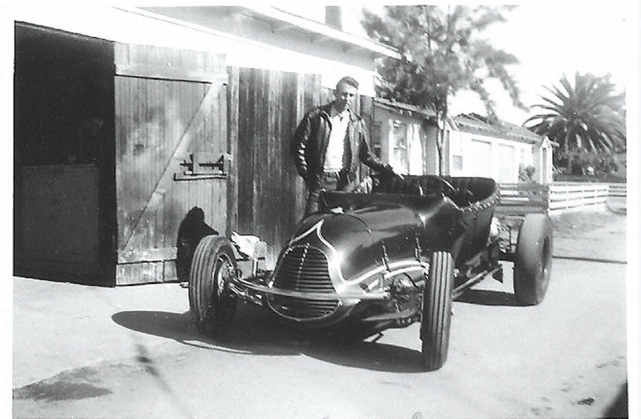 """Chuck Chenowth owned the T for a brief period in 1951, when these photos were taken. He raced the car in San Diego and """"won two trophies first time out,"""" he wrote on the back of one of the photos. """"Class C Modified Roadster record and Elimination Trophy. P.S. Can also outrun Santa Ana cars."""""""