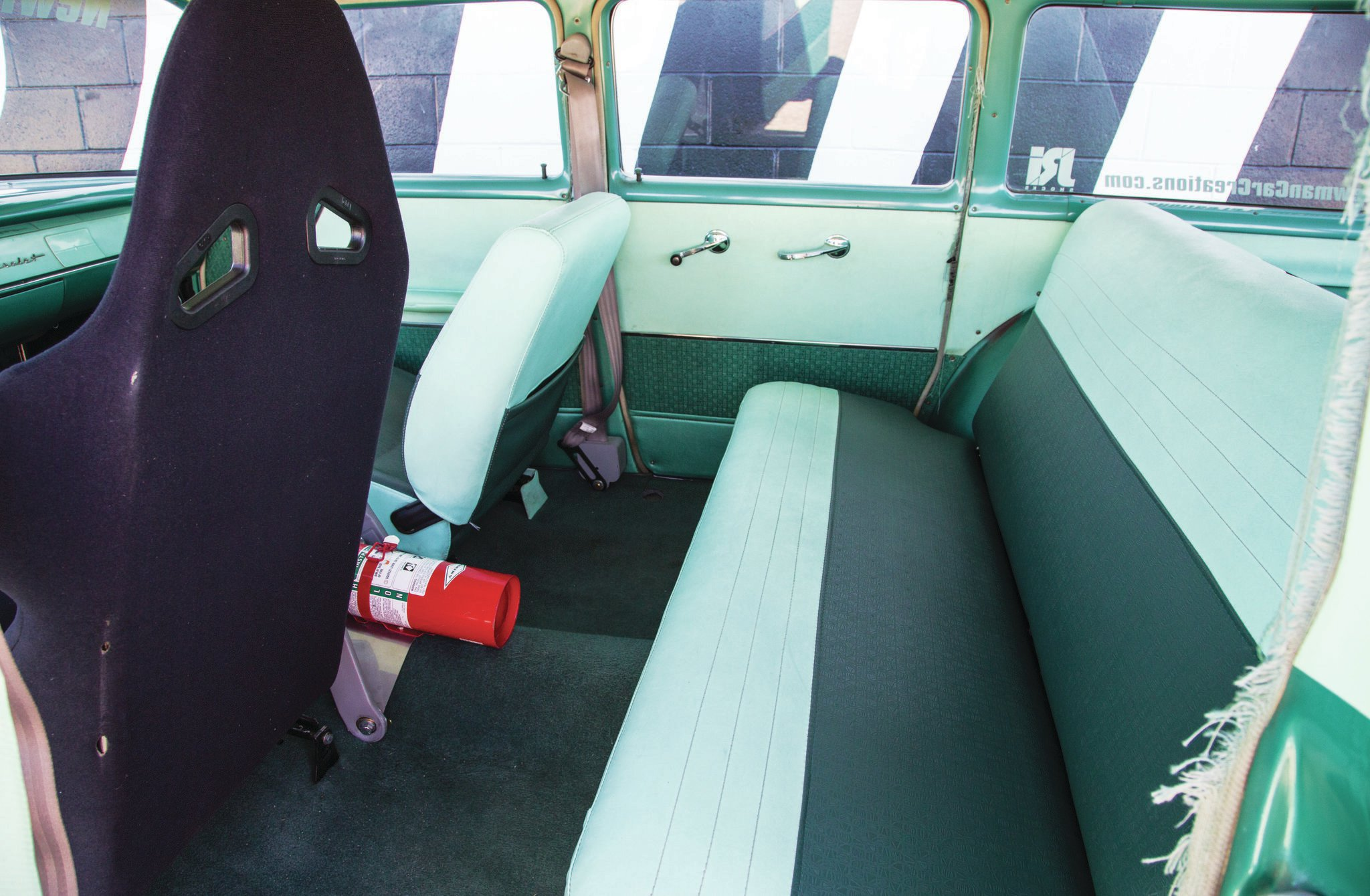 Much of the rear-upholstered panels are factory 48-year-old survivors. Lots of room for the kiddies, as you would expect, and Kyle uses the daily driver as much for family functions as flogging and featuring Newman's products.