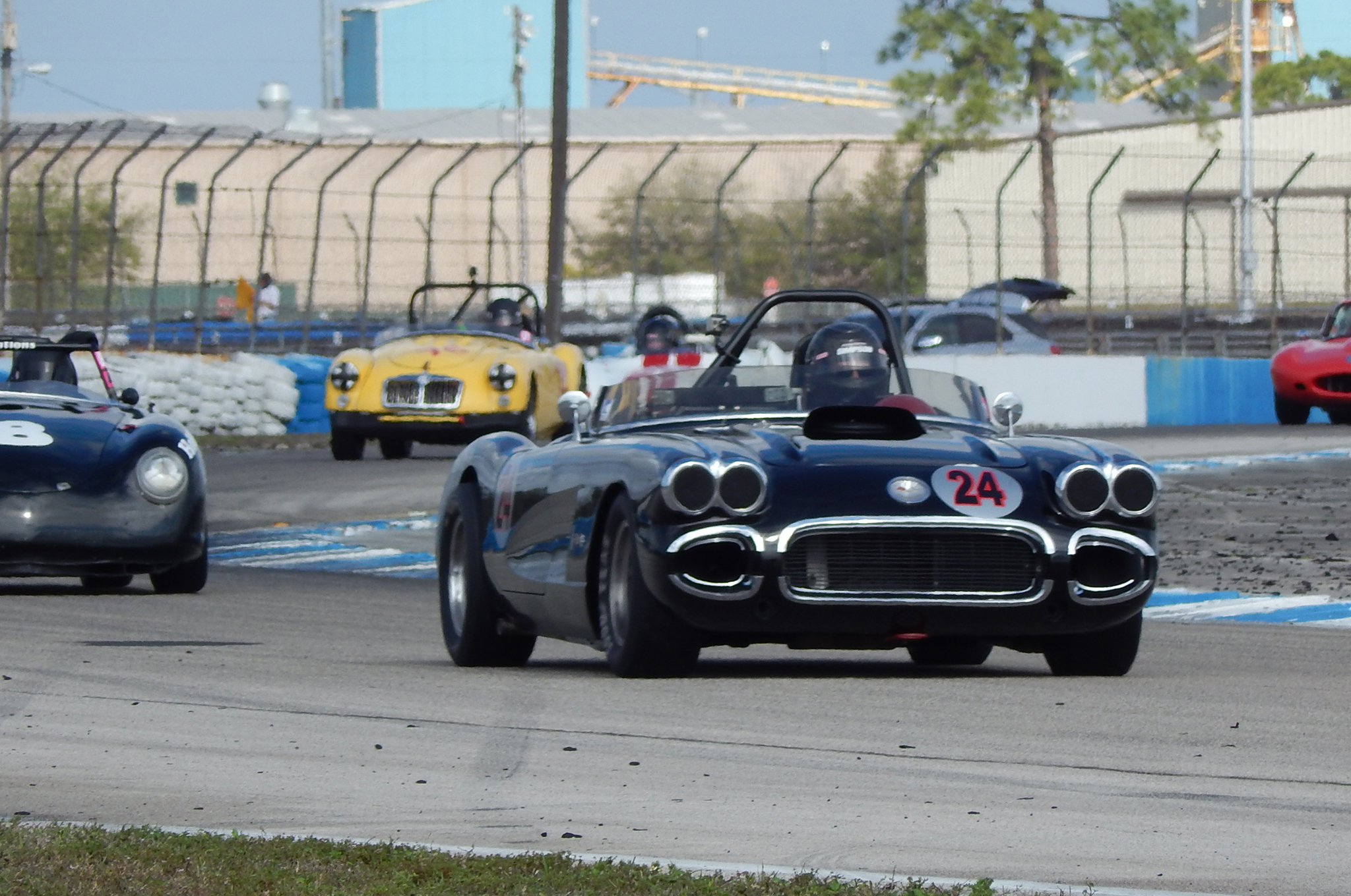 Bill Treffert's #24 1960 Corvette put on one of the most exciting battles, racing for the lead with a pair of Porsches. The Corvette prevailed, taking first in class.