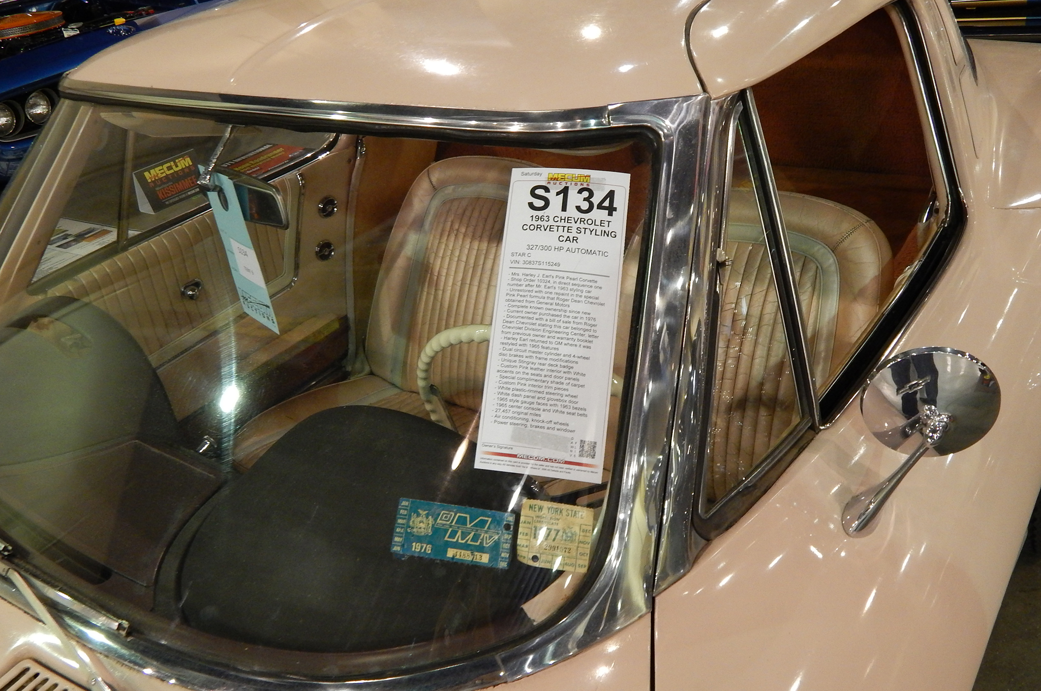 Yes, you are seeing a pink interior and exterior on this unrestored 1963. It was a one-off Sting Ray styling exercise by Harley Earl for his wife. White steering wheel, dash, and upholstery accents, along with unique badging are preserved in this 26,000-mile piece of history.