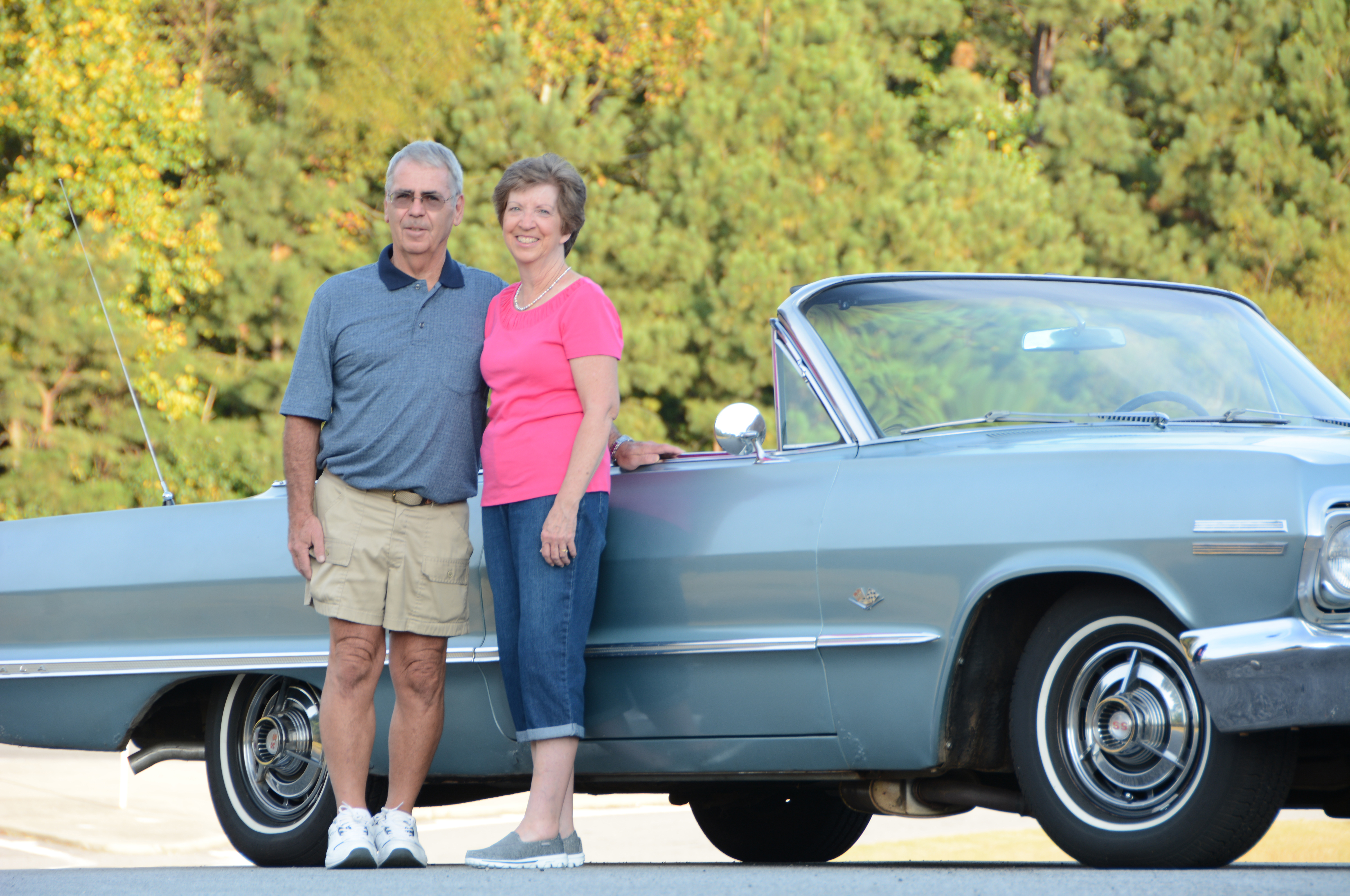 Charles and Peggy went on their first date in Ol' Blue (Peggy refers to the car as Chug-a-Lug), and they recently celebrated their 40th wedding anniversary. The car drove them away from the wedding and also drove them to the hospital for the birth of their three daughters, Jennifer, Kimberly, and Christina.