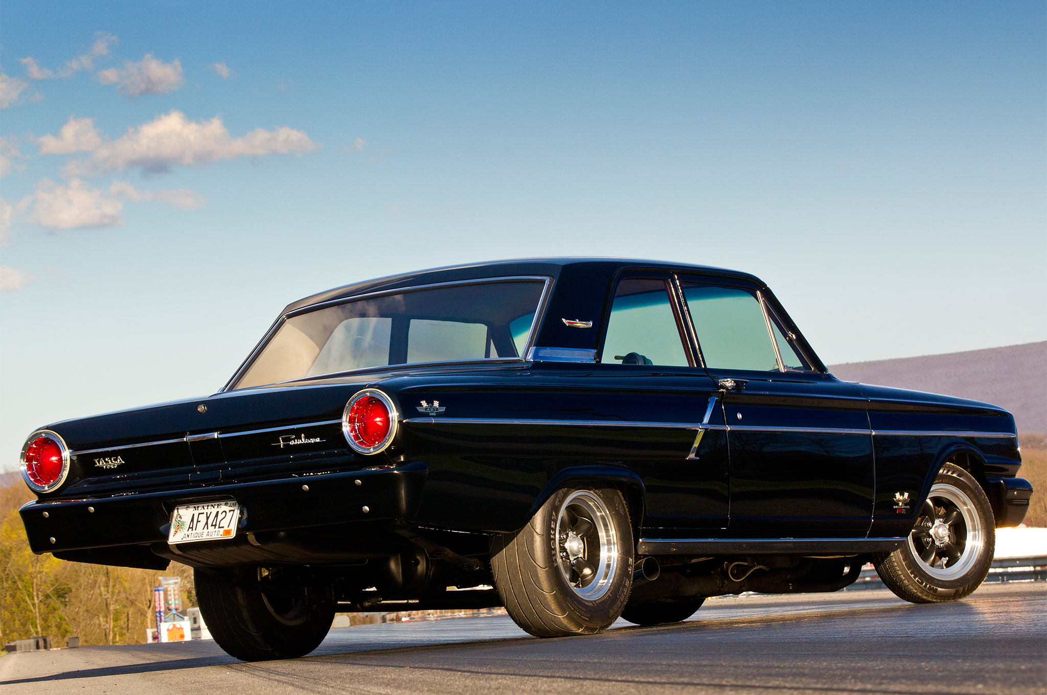 To keep the Fairlane's exterior a pure 1960s look, Jim decided to stick with 15-inch Torq-Thrust wheels. The Mickey Thompson E/T Streets launch well with the right hit of the throttle, but too much will just send them up in smoke.