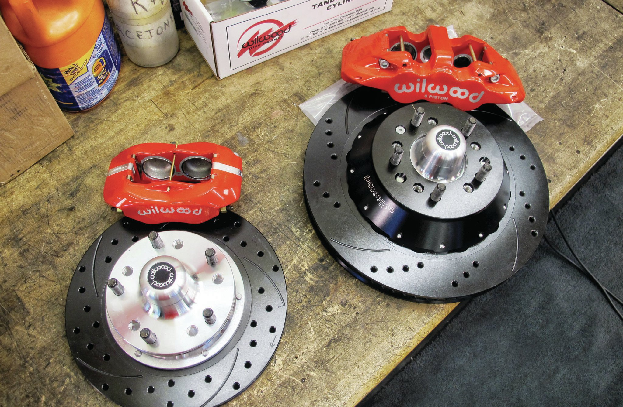 Not only did we test a set of 11-inch Wilwood Dynalite Pro front discs (PN 140-10996-dr) and 12-inch Dynapro Series rear discs (PN 140-11398-dr) on the Elco but we left Wilwood's Aero6 Big Brake 14-inch front kit (PN 140-10920-DR) and the Aero4 Big Brake 14-inch rear kit (PN 140-10948-DR) with internal parking-brake mechanism on the car because it worked too well to give the parts back. The Aero6 calipers contain six pistons, while the Aero4 calipers contain four pistons.