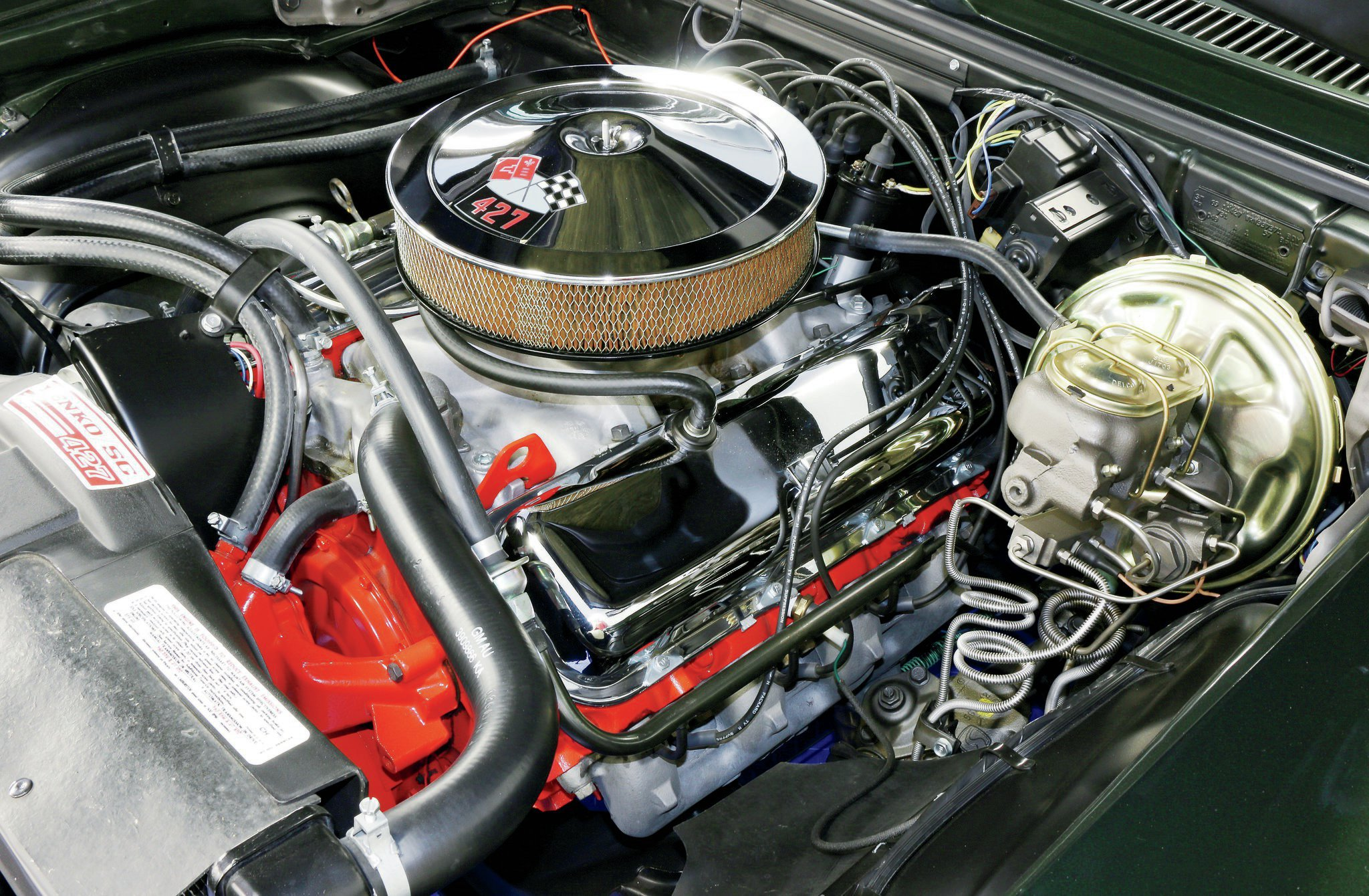 As they did with the 1968 Camaros, Yenko's technicians pulled the L78 396 out of the Novas and transplanted a 427 short-block, to which they reinstalled the L78's heads, intake, and carburetor. A Yenko tune then brought power up to a rated 450 hp.
