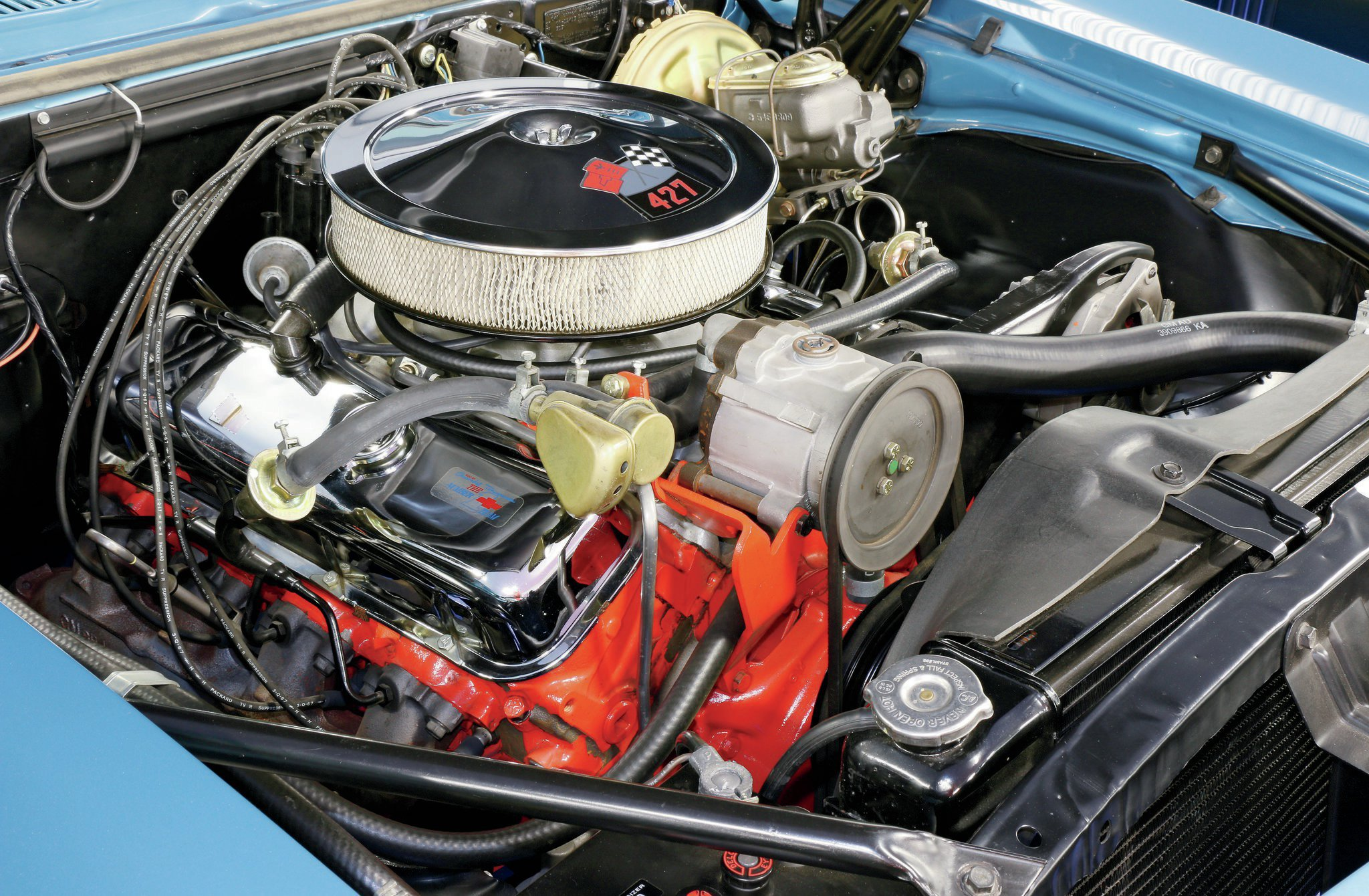 Yenko's mechanics would start with the factory 396/375-horse L78 engine, remove the intake manifold and cylinder heads, and swap the 396 short-block for an L72 427ci GM CE-stamped short-block.