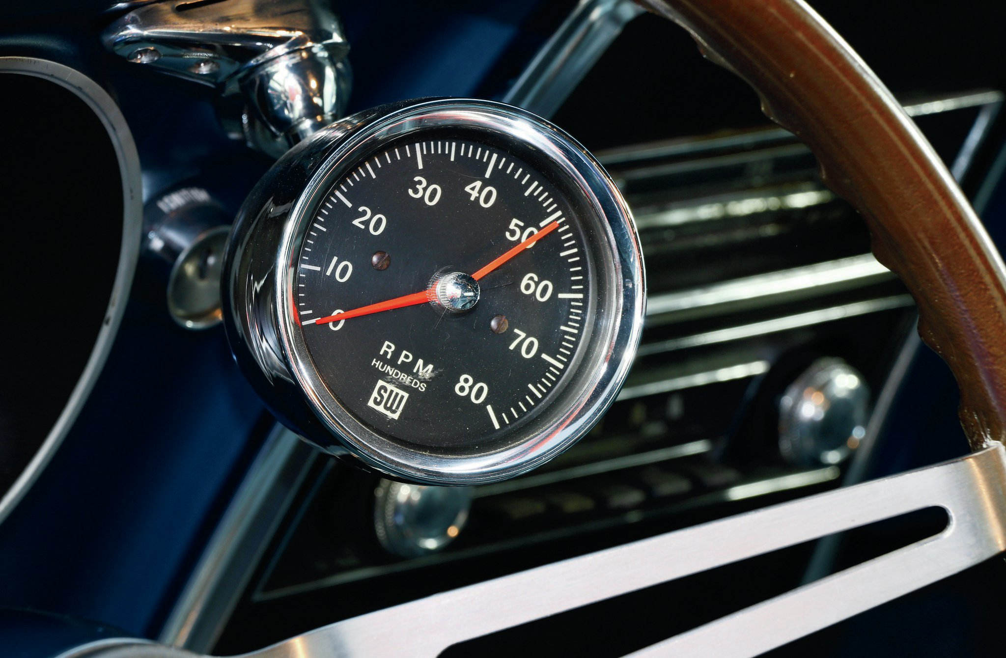The Yenko conversion included this Stewart Warner 8,000-rpm tachometer. It was clocked around so the driver had an optimal view of the higher rpm.