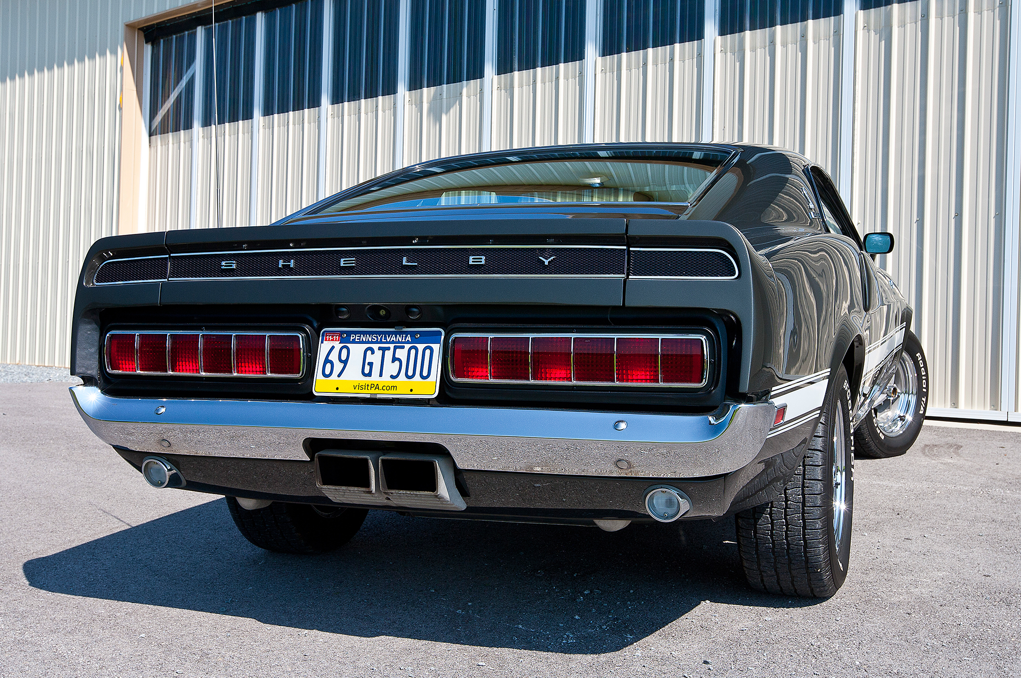 The Shelby's taillights were removed while it was in storage to keep eager buyers at bay, but after a complete restoration they're back where they should be. The tires today are P235/60R15 BFGoodrich Radial T/As.