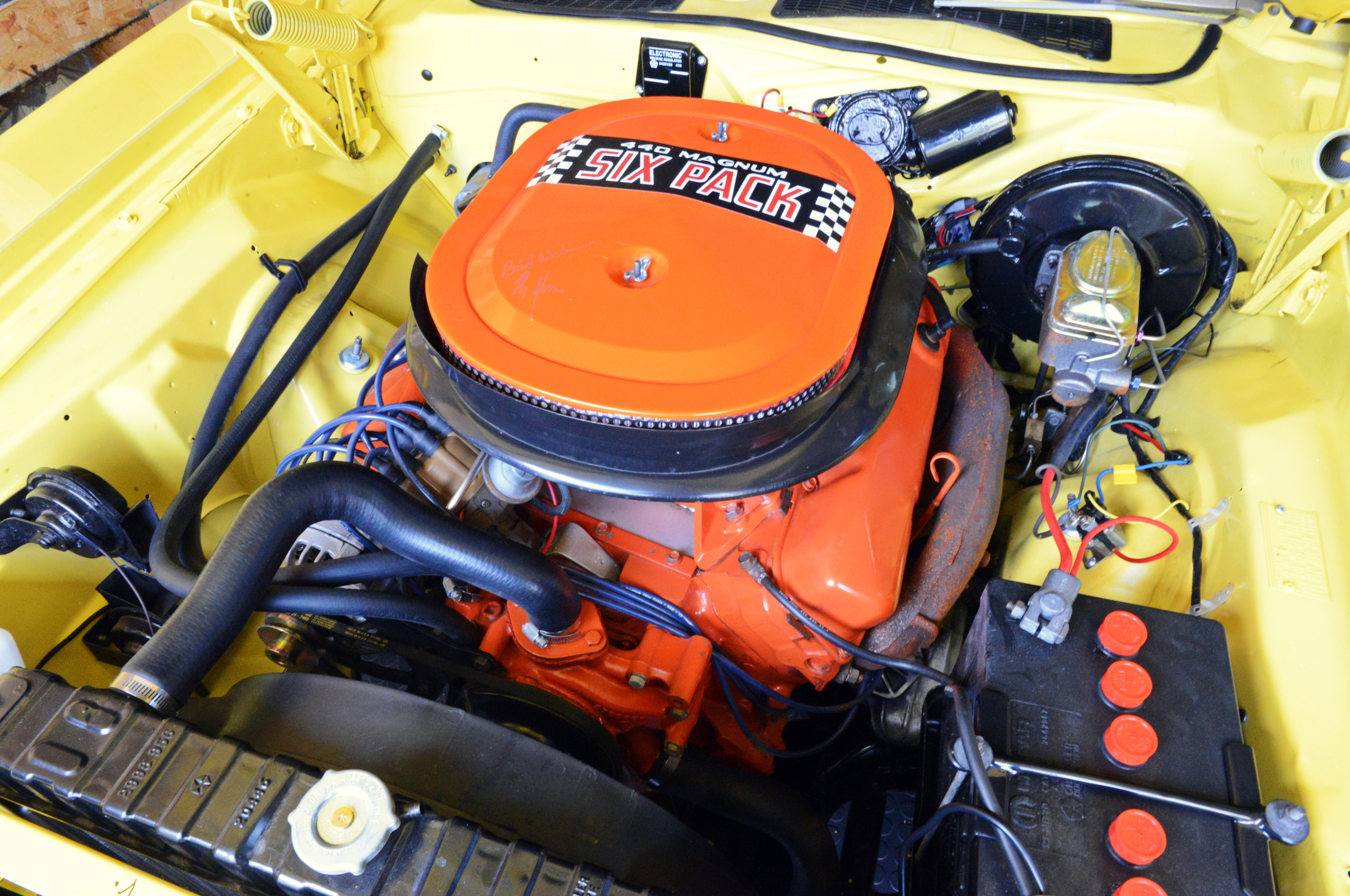 The Challenger's original 440 Six Pack motor had been replaced by a race motor early in the car's life. Miraculously, the original motor was located in a small speed shop not far from Grand Spaulding Dodge, where the car was originally sold.