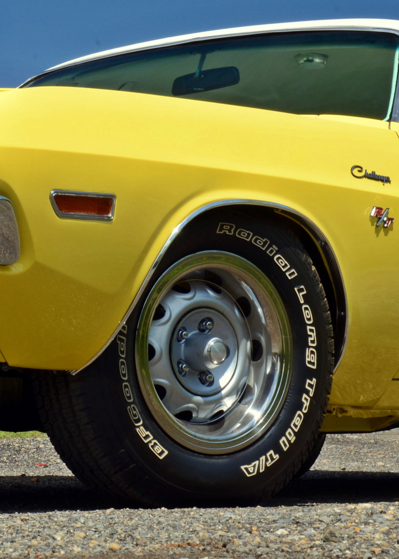After the restoration, Bill threw on these tires for transporting the Challenger. He still hasn't decided on Goodyear repops or the more basic Goodrich T/As. Interestingly enough, the order card for this particular Challenger shows that black sidewalls were put on the car, but the window sticker tells a different tale. It states that white letter tires were installed.