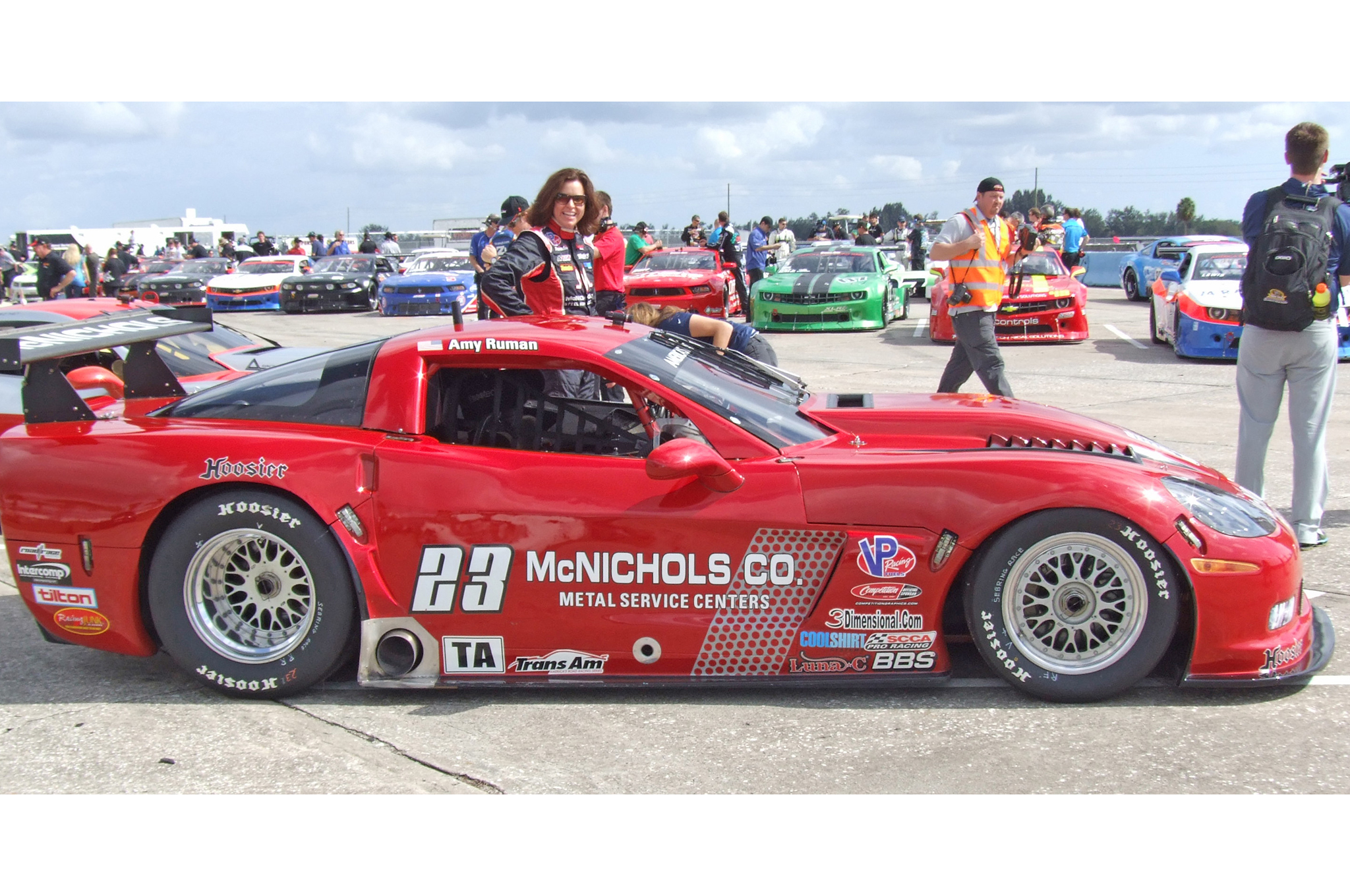 Amy Ruman drove the #23 Corvette to secure the pole position in the TA class on Friday and she beat all challengers again on Sunday in the feature race.