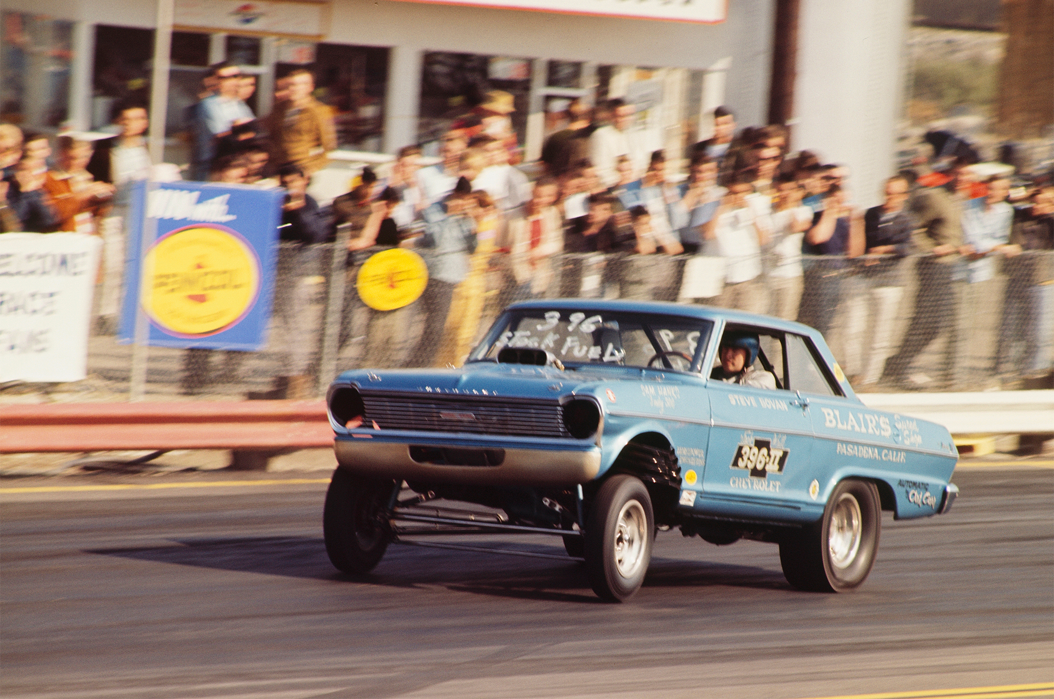 Steve Bovan is best known as one of the pioneering A/FX drag racers. His Chevy II ran a blown big-block on alcohol and was one of the first, if not the first, Chevy to follow Jack Chrisman's lead by running an alcohol or nitro-fed supercharged engine set back in the chassis of a late-model car. These early FX cars were the infancy of what became the Funny Car class.