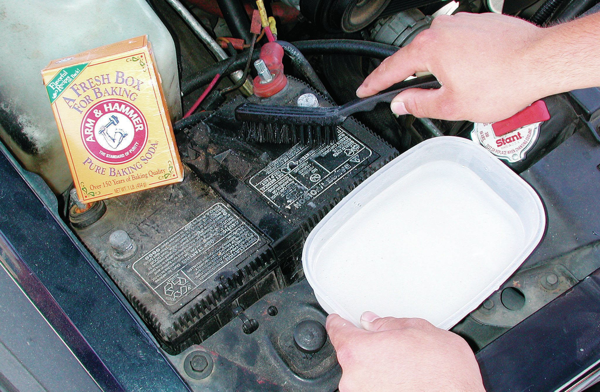 If the car's been sitting for years, there's a good chance the battery terminals are corroded. A baking soda and water solution is one method for dissolving all the grime.
