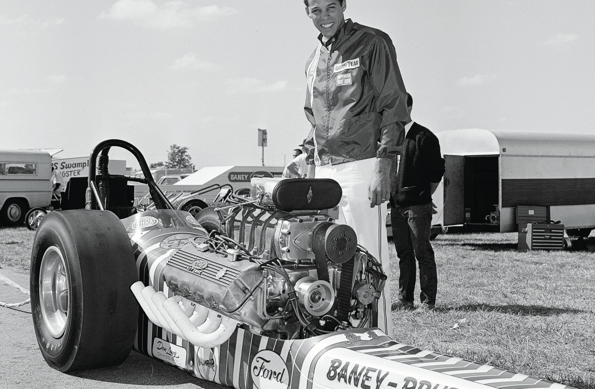 Don Prudhomme's 1967 Springnationals victory was a major milestone for the Cammer, owner Lou Baney, and Prudhomme. He posted the first 6-second Top Fuel runs at a national event in Lou Baney's Brand Ford Special dragster built by Don Long with an Ed Pink SOHC. Others had recorded 6-second times, but Prudhomme was the first to do it at a major NHRA meet.