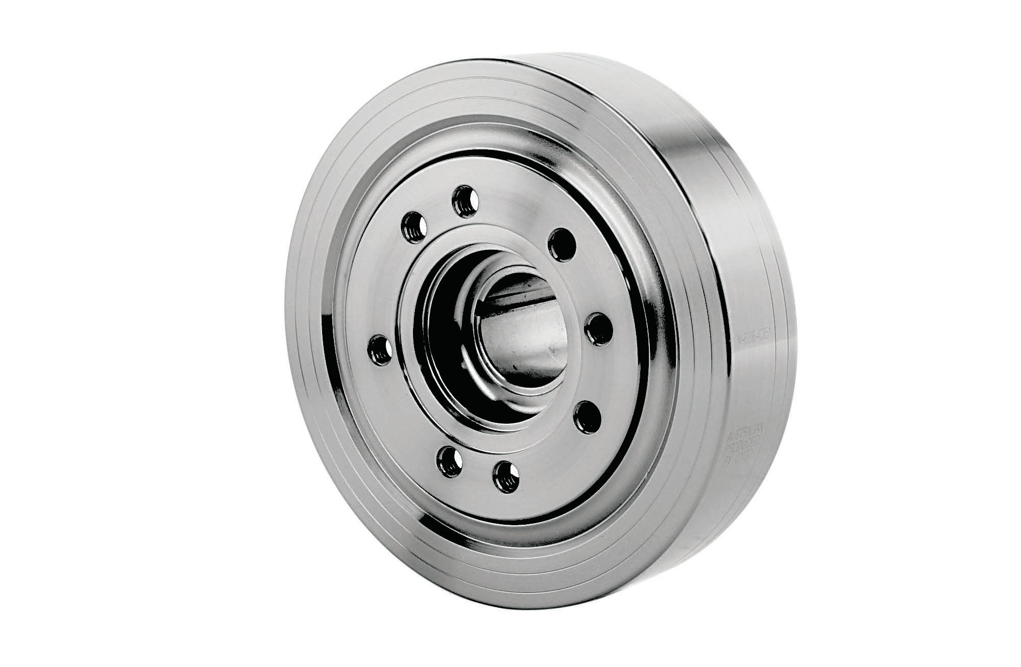 Ford Racing's SFI 18.1-certified damper PN M-6316-C351 has a 28.2 oz-in bolt-on imbalance weight. Removing the weight allows it to also work with neutral-balanced custom cranks. Additional universal features include both passenger-side 11 o'clock and driver-side 2 o'clock timing marks.