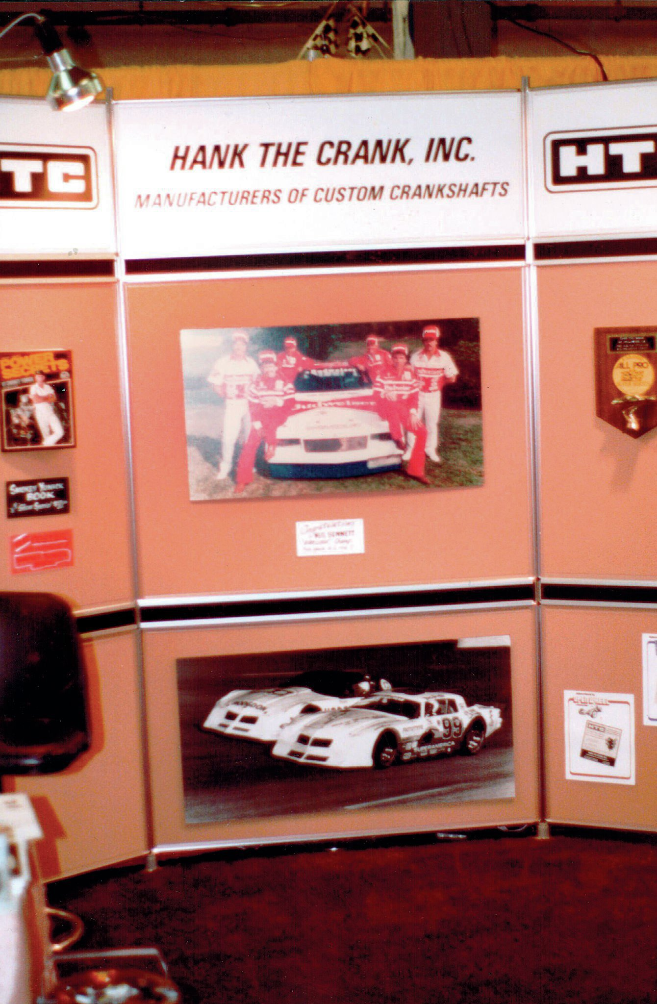 At the OTT Show in Daytona Beach, 1984. The center photo is the Budweiser Team with drivers Neil Bonnett and Darrell Waltrip. The car was sponsored then by Hank's new partner, Warren Hodgdon.