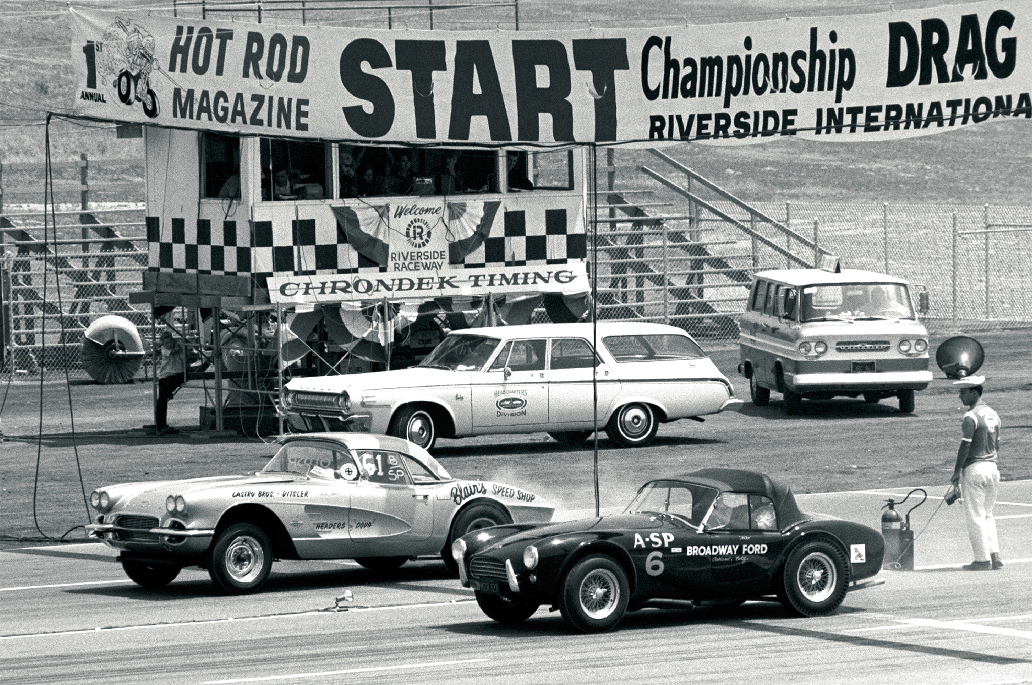 The 1961 Corvette seen at the HOT ROD Magazine Drags at Riverside in 1964 was Bovan's first real success in drag racing, scoring him a championship win in NHRA C/Stock in 1964, with partner Phil Castro.