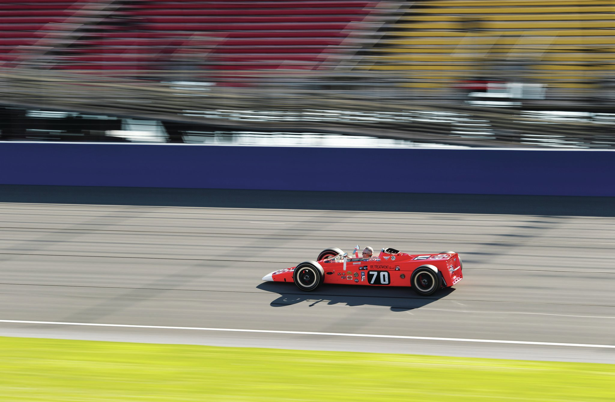"When you see the Lotus 56-3 in person, its design is startling. Other IndyCars at the time still had a sort of hand-rolled cigarette profile, rounded in the middle and skinny on the ends. The rear placement of the turbine, and the fact that it needed no radiator or cooling setup meant that the nose of the Lotus car could be incredibly low. There's no wing—Granatelli was probably tired of hearing driver complaints that it ""scared them""—but the body shape was said to provide superior aerodynamics compared to its ovoid competitors."