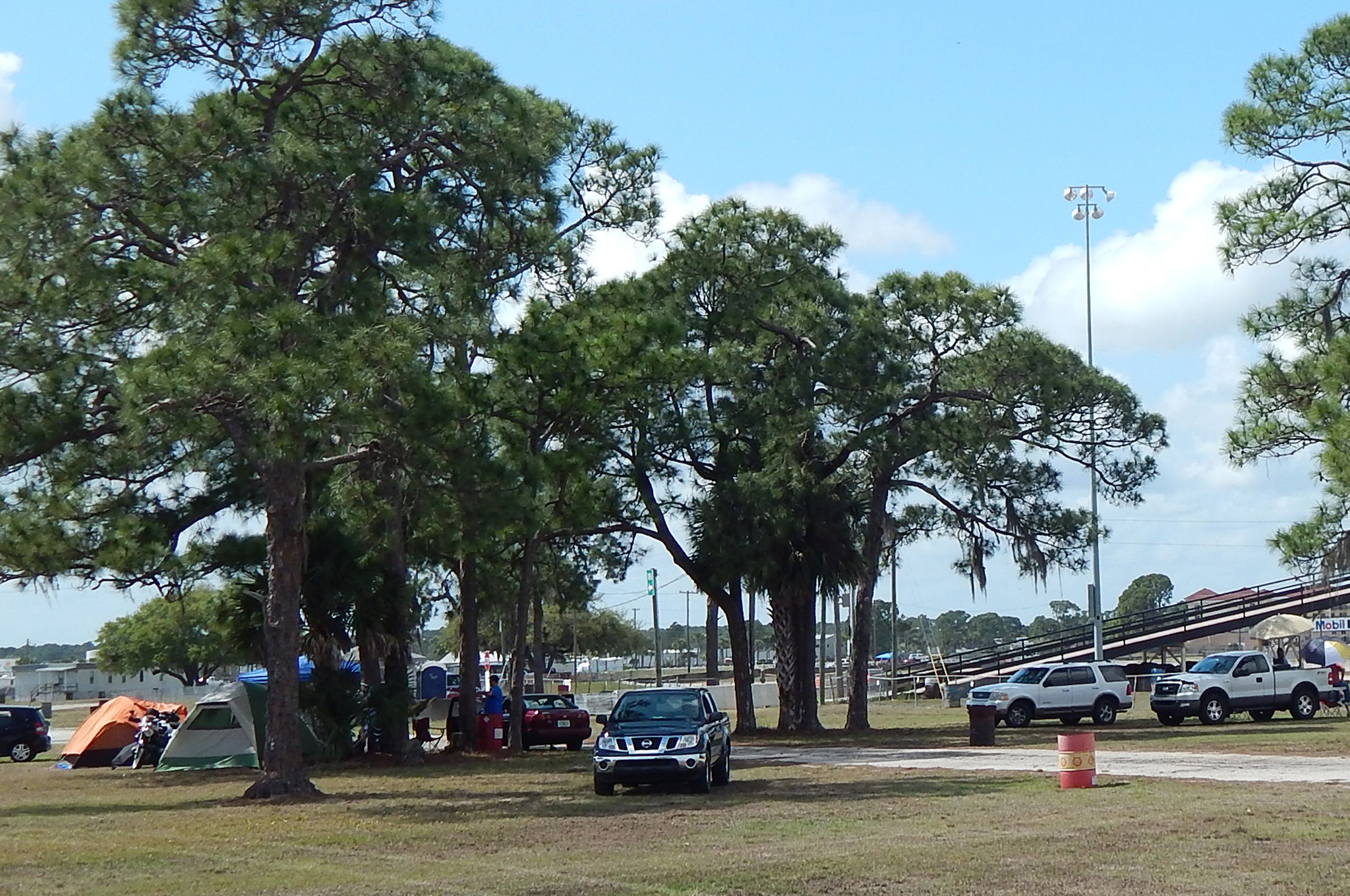 At Sebring, there's plenty of room to tent camp or park a vehicle under shade trees or right next to the track.