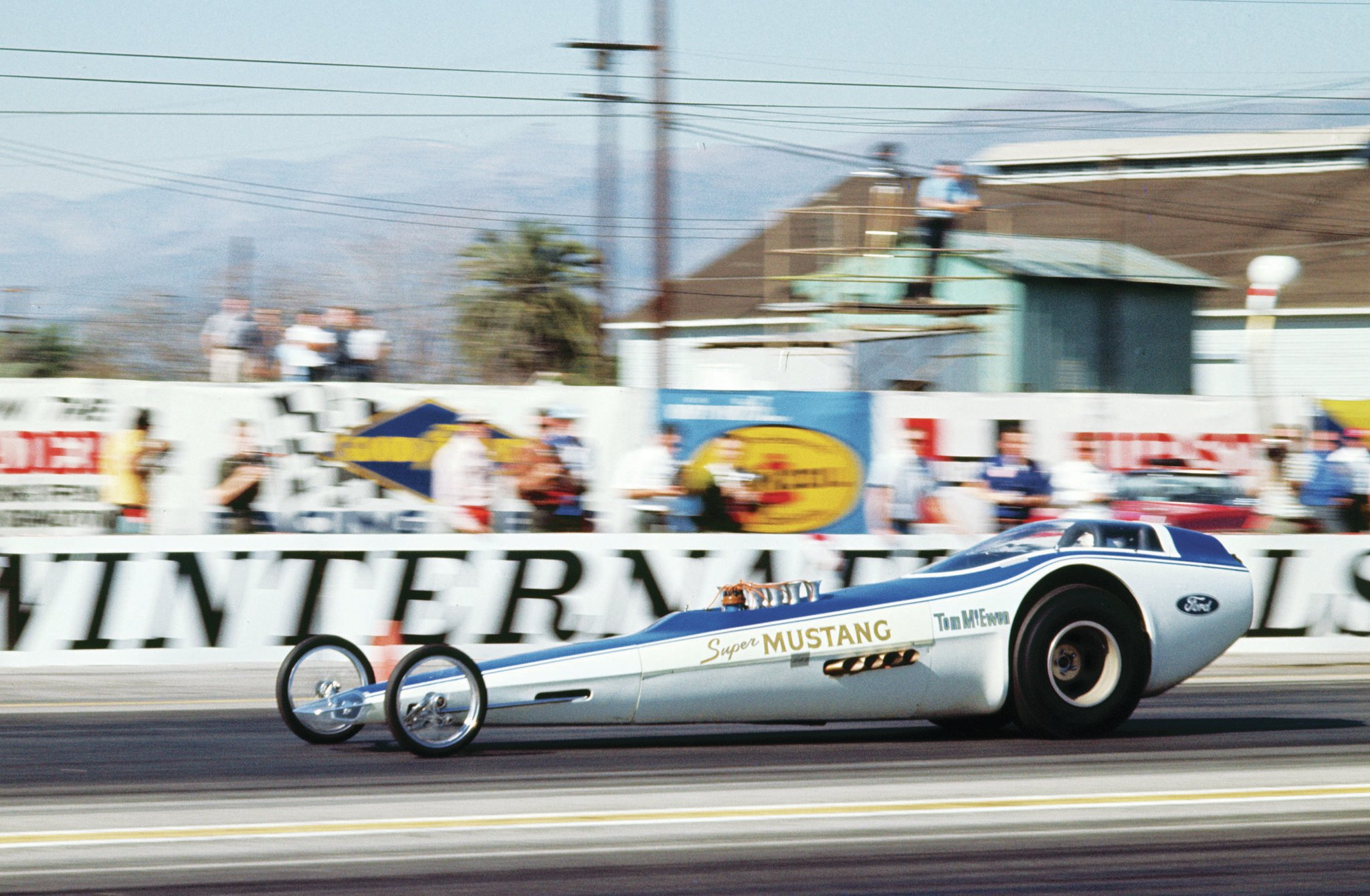 "Ford's dragster of the future had to be powered by an injected version of its most exotic engine to ever hit the quarter-mile, right? But weight, the sprung rearend (which resulted in handling problems), and general lack of performance relegated the ""Super Mustang,"" piloted by Tom McEwen, to just a few appearances before it was shelved later in 1967."