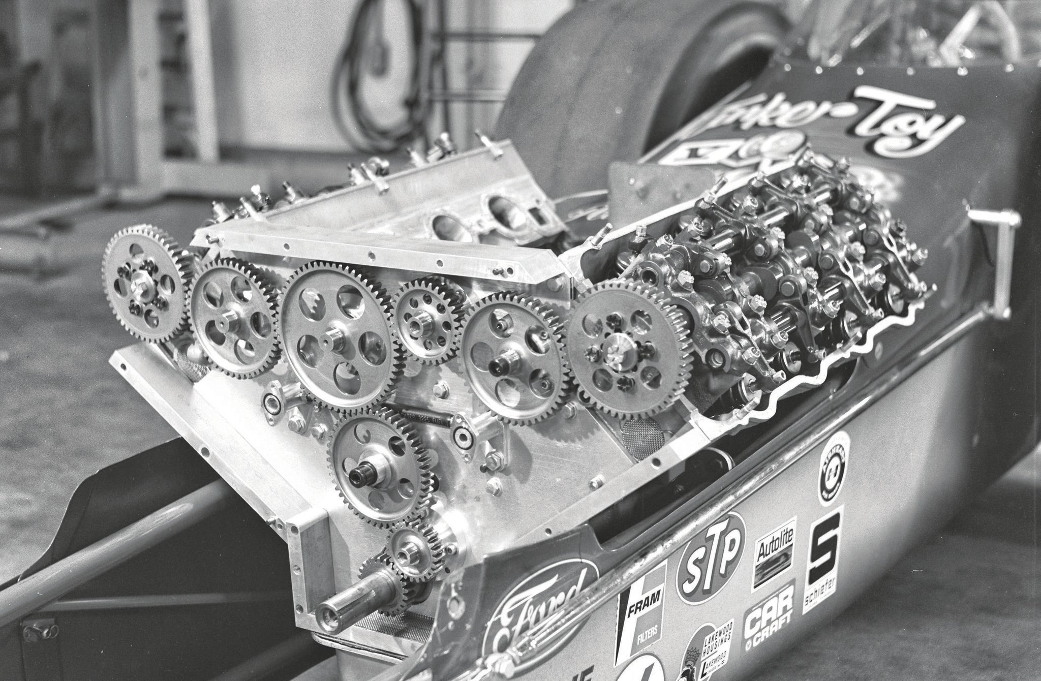 "Maybe the farthest advancement in the technical evolution of the SOHC was in Pete Robinson's geardrive development, seen here in March 1969 on his ""Tinker Toy dragster. A true Cammer believer, he was tragically killed in 1971 qualifying at the Winternationals, experimenting with aerodynamics, which caused the crash. By then, most all of the Cammers had been replaced with Chrysler Hemis."