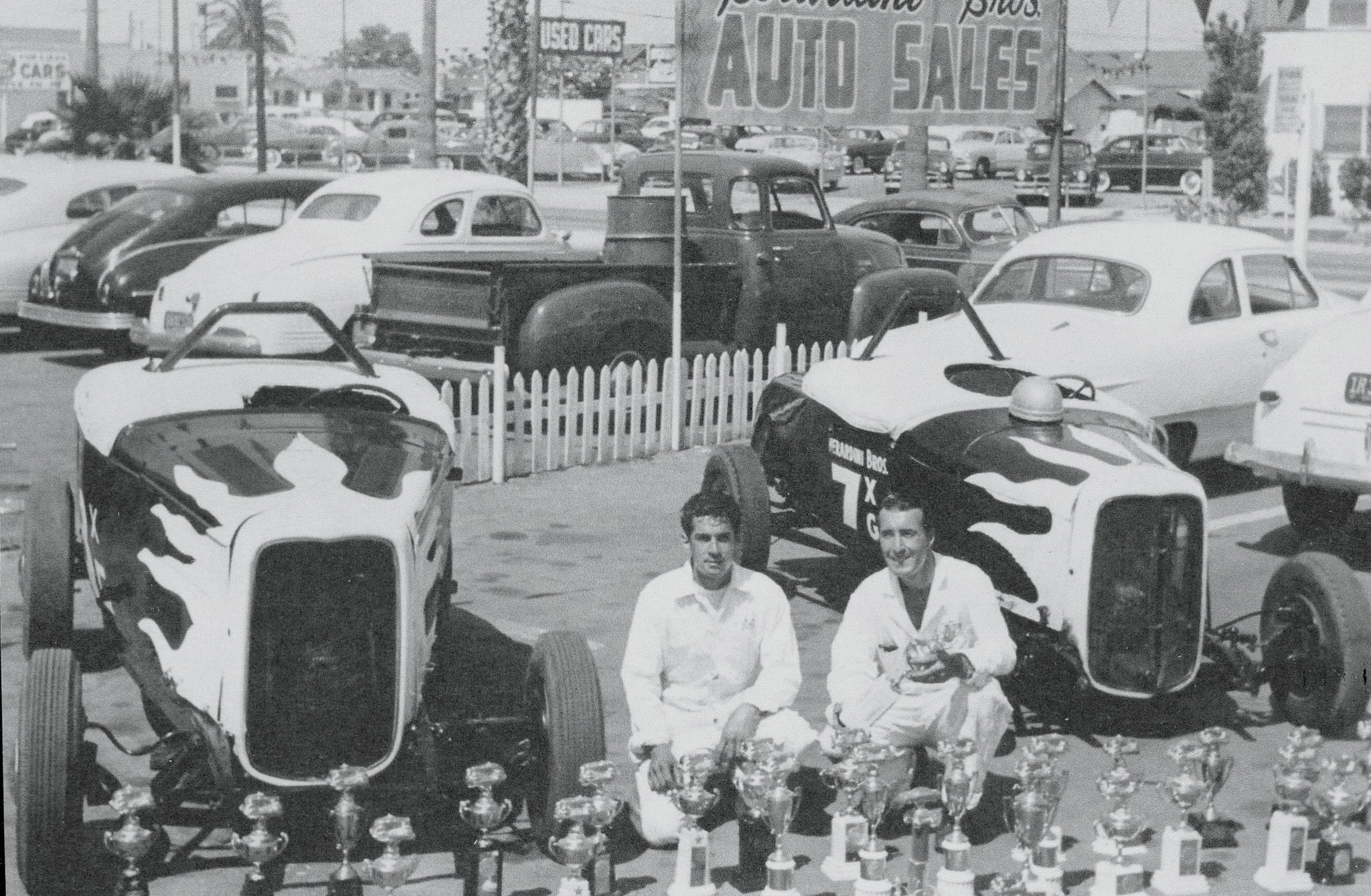 Pat Berardini Jr. sent us this photo of the Berardini Brothers and their two roadsters. The '32 is on the left, the '29 on the right. The trophies are a testament to the brothers' success at the drags; it's estimated they won 80 percent of their races.