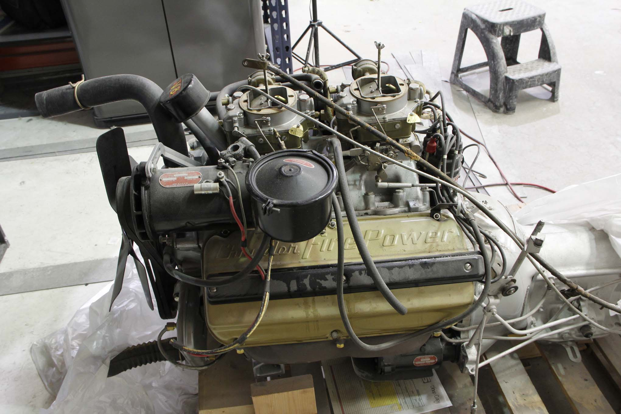 We found this rare and desireable 1954 dual-quad Desoto Hemi sitting on the shop floor. It is stock all the way to the generator.