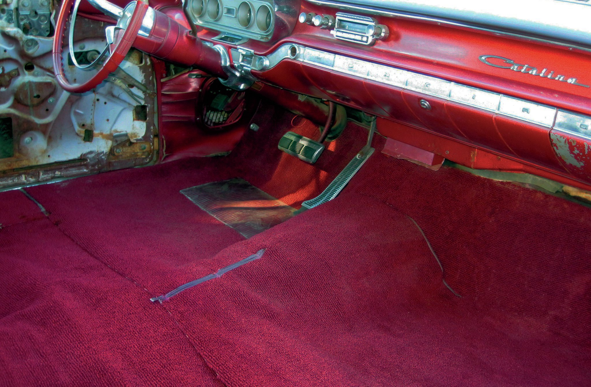 Like lipstick on a pig, fresh new carpeting on the floor of a '60s vintage vehicle could be hiding a rusty floor. Here we'll give you a glimpse of what to expect and an option for repairing what you find, even though you may not have the expertise or access to a welder. Check it out.