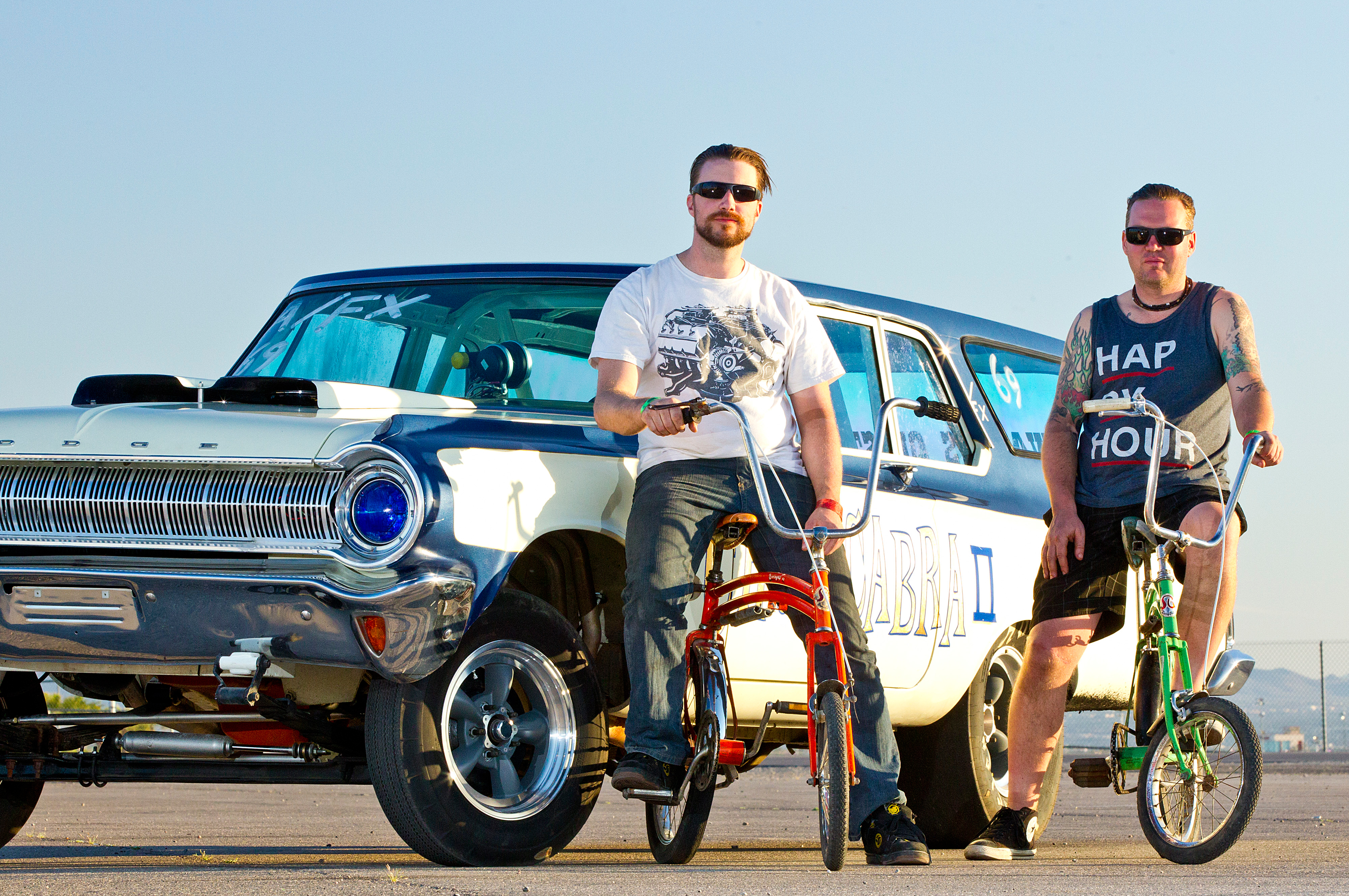 In their 30s, Chris Carlson (left) and Pat McInnis are proof that Dodge's visually striking traction trickery appeals to youngsters and oldsters alike. They're part of the new generation of Match Bash altered wheelbase builders.