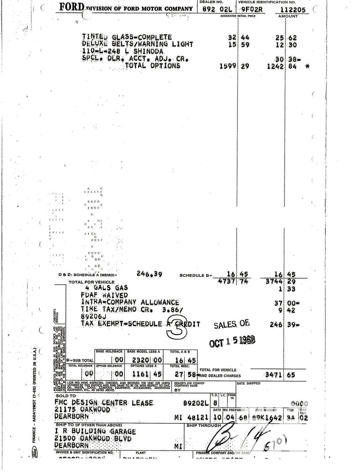 "John researched this invoice to his Mustang, which matched his car's VIN and had ""L Shinoda"" in the third line from the top. The Ship To address at the bottom is for the I R Garage, which is right across the street from the Ford Design Center. This document proves the link to both Larry Shinoda and the Ford Design Center. The team used the Pastel Gray fastback as a palette to apply Shinoda's now famous Boss 302 graphics."