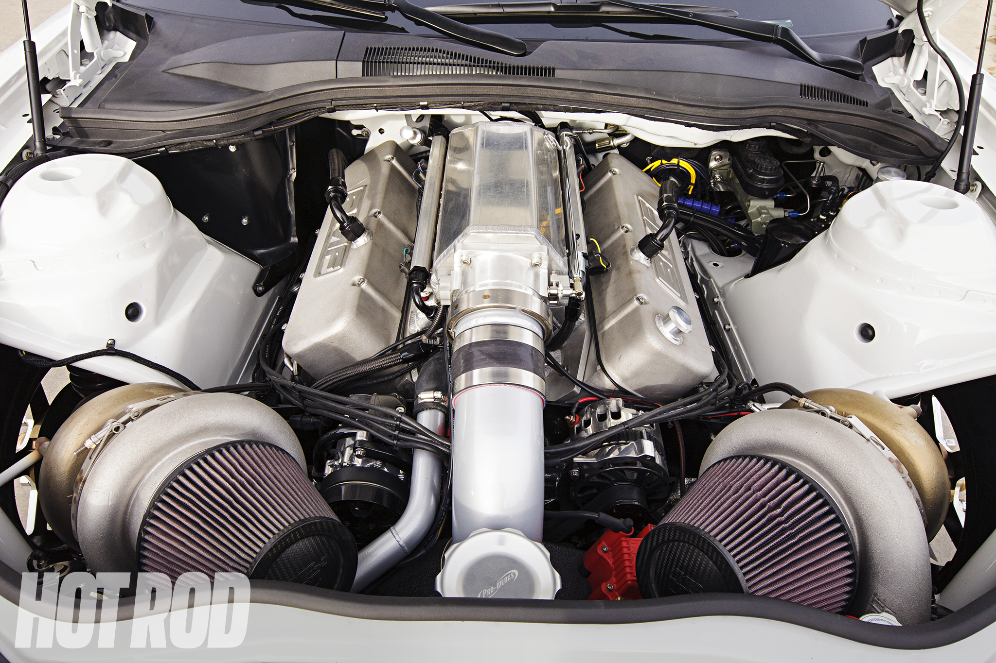 Crammed in among the factory white sheetmetal is a 540ci Burlington Performance, CFE billet-aluminum big-block running Precision Turbos Gen 1 88mm turbos combined with Precision 66mm wastegates and a Larson Race Cars air-to-water intercooler.