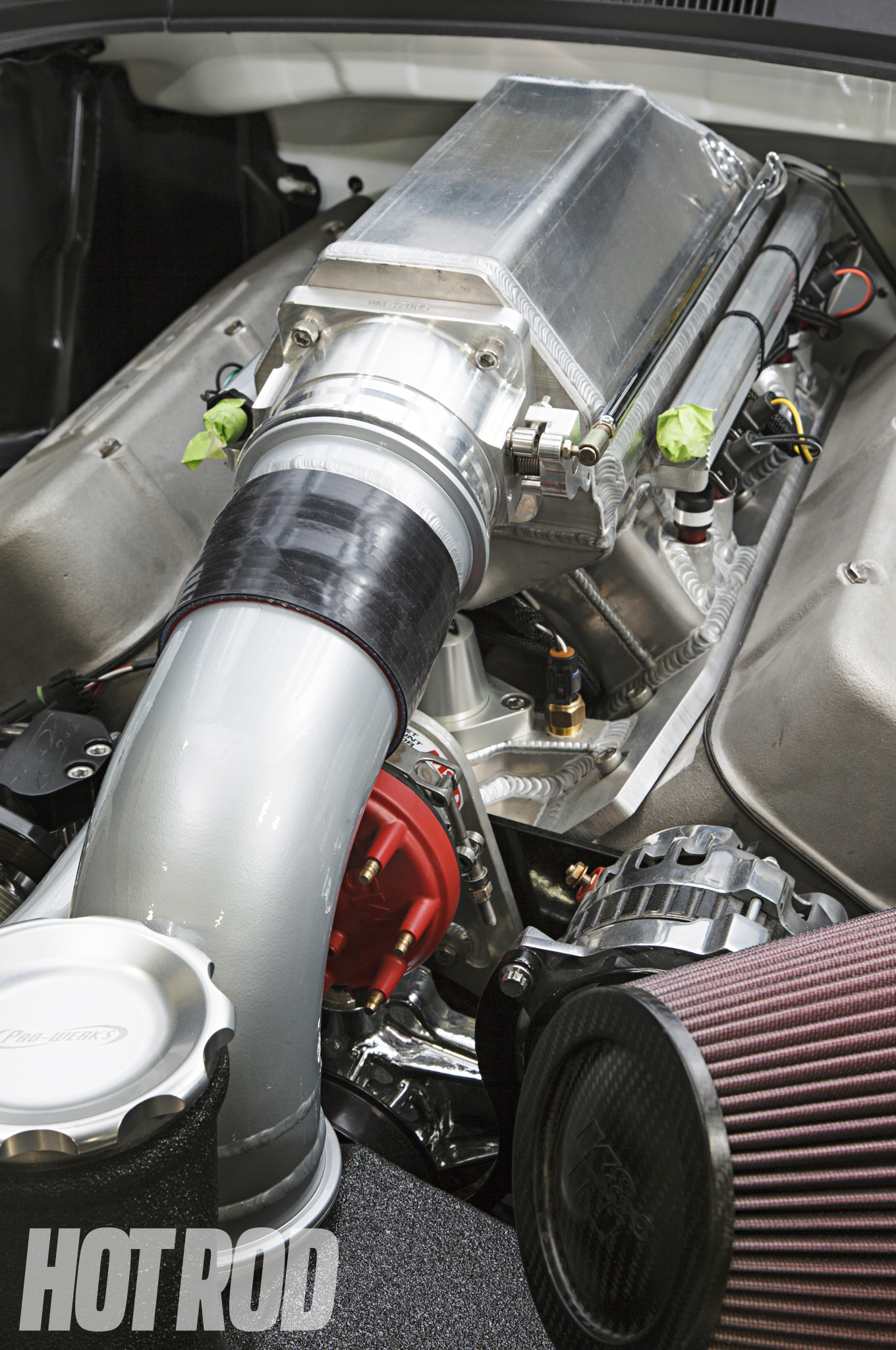 A Wilson 90mm throttle-body flows into a Larson Race Cars-fabbed airbox. Fuel rails are Aeromotive with Precision squirters rated at 220 lb/hr, all controlled by the BigStuff3 controller.