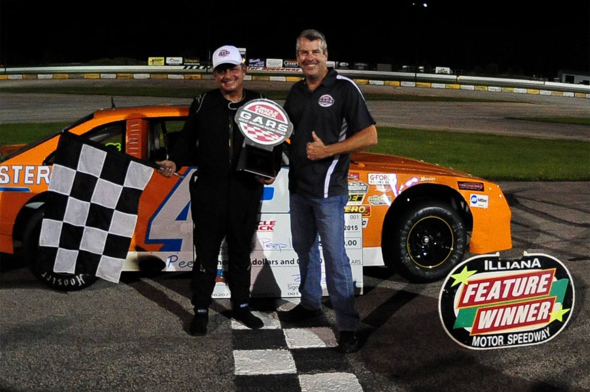 Curtiss Peeples and his team traveled 16 hours one way to compete in the Great American Racing Series event at Illiana Motor Speedway on Saturday, June 20.  The trip paid off with his first G.A.R.S win and a $5,000 pay day.