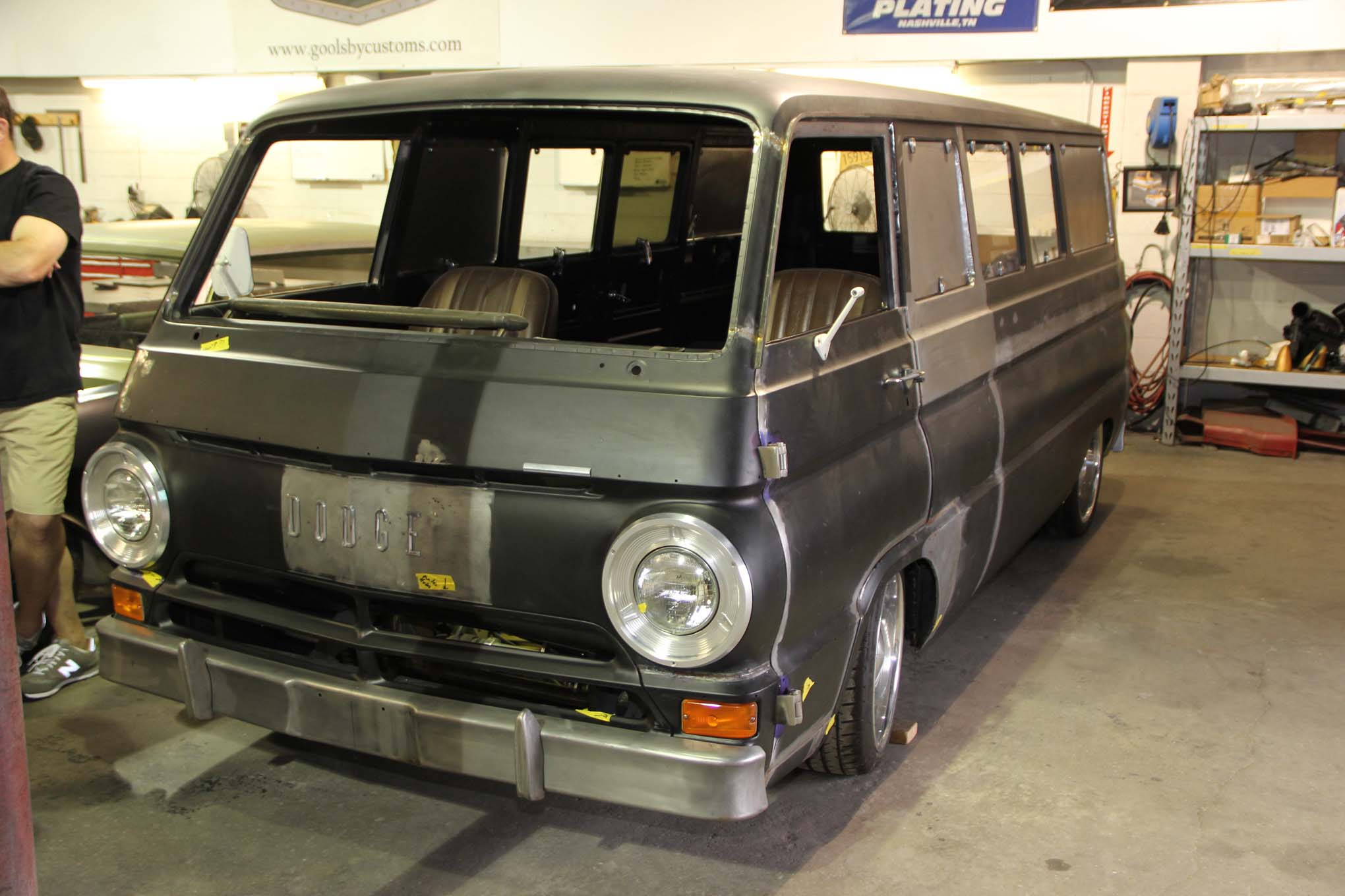Our favorite was this 1969 Dodge A108 van. The list of modifications is long so we will point out that all the windows have hand-made moldings and use hardware from many other vans. The result is a VW-Safari van vibe.