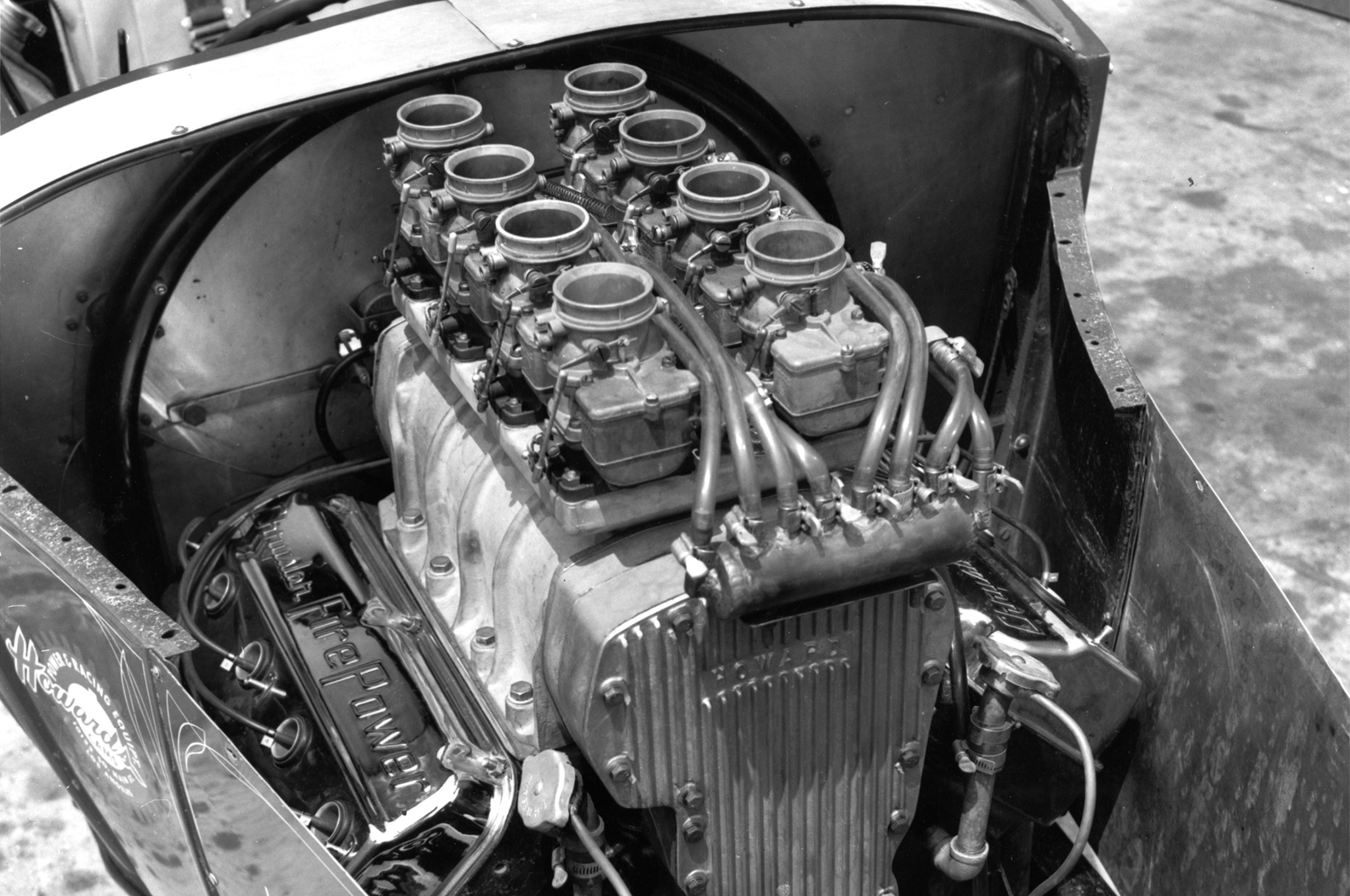 When Scott photographed the car, the engine had grown to 412 cubes and sported eight Stromberg 48s feeding a GMC 4-71 blower. In the block were a Howard 295 cam, Howard lifters, Forged-True pistons, and '55 heads. At 7:1 compression, the Hemi made 400 hp on gas.